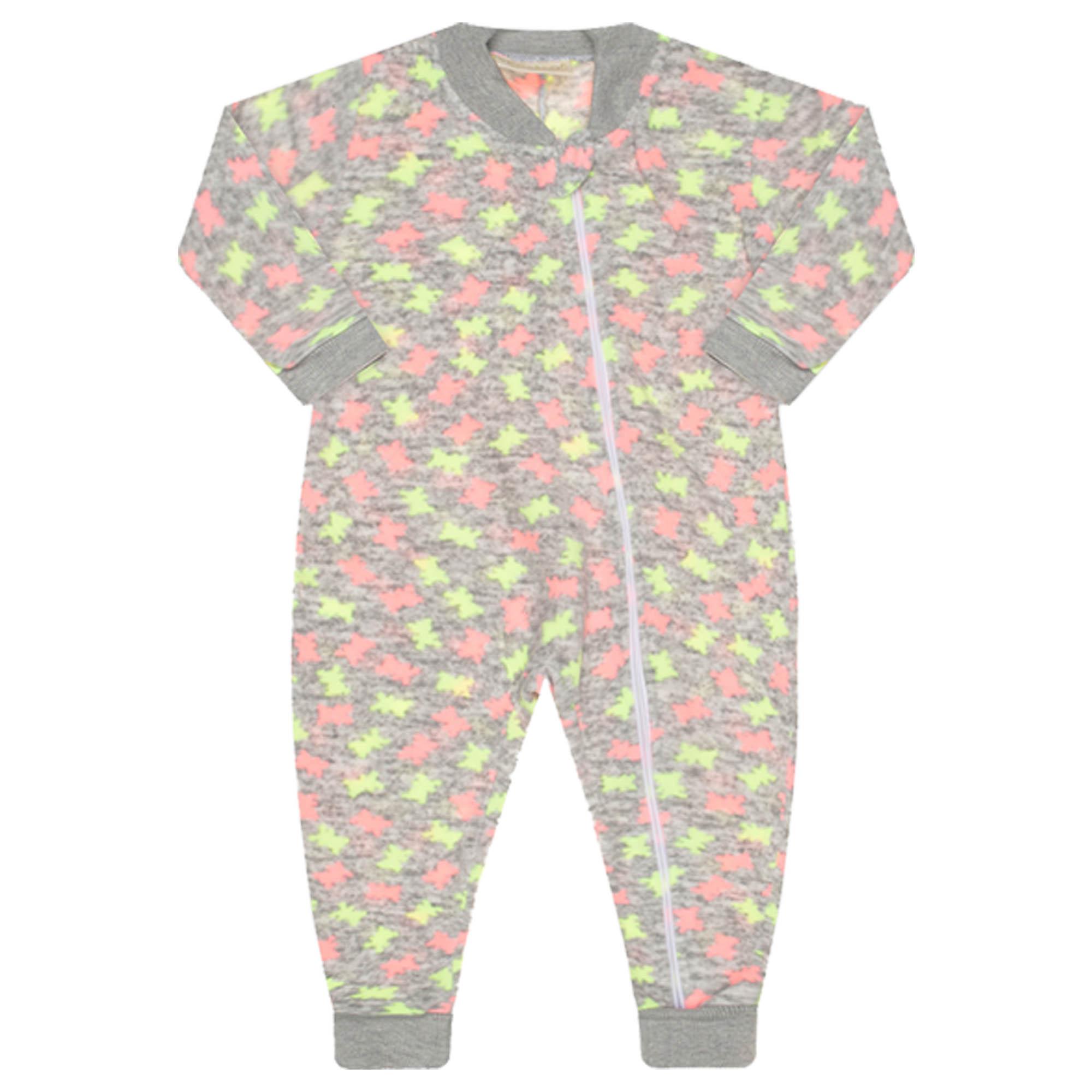 Macacão Pijama Inverno Vrasalon Soft Ursinhos Neon - 01 ao 03