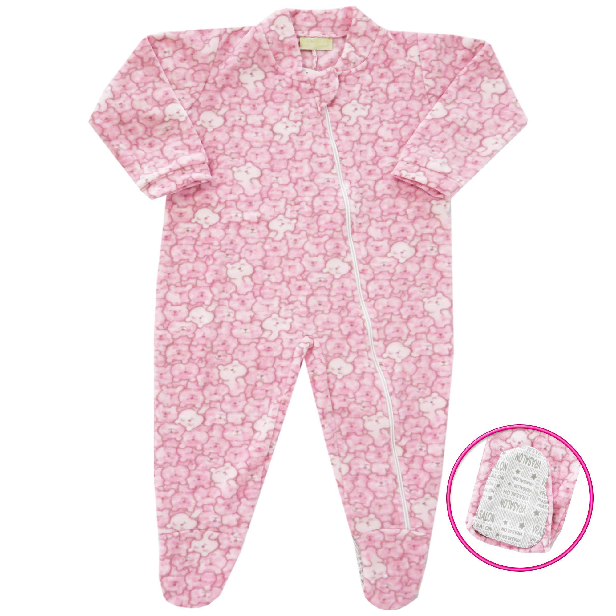 Macacão Pijama Inverno Vrasalon Soft Ursinhos - P e G