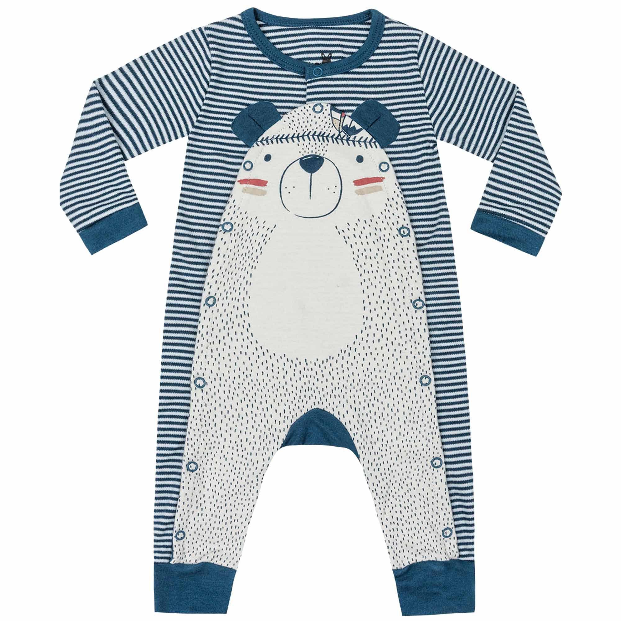 Macacão Inverno Suedine Kiko Baby Estampa Urso Índio e Listras - RN ao G