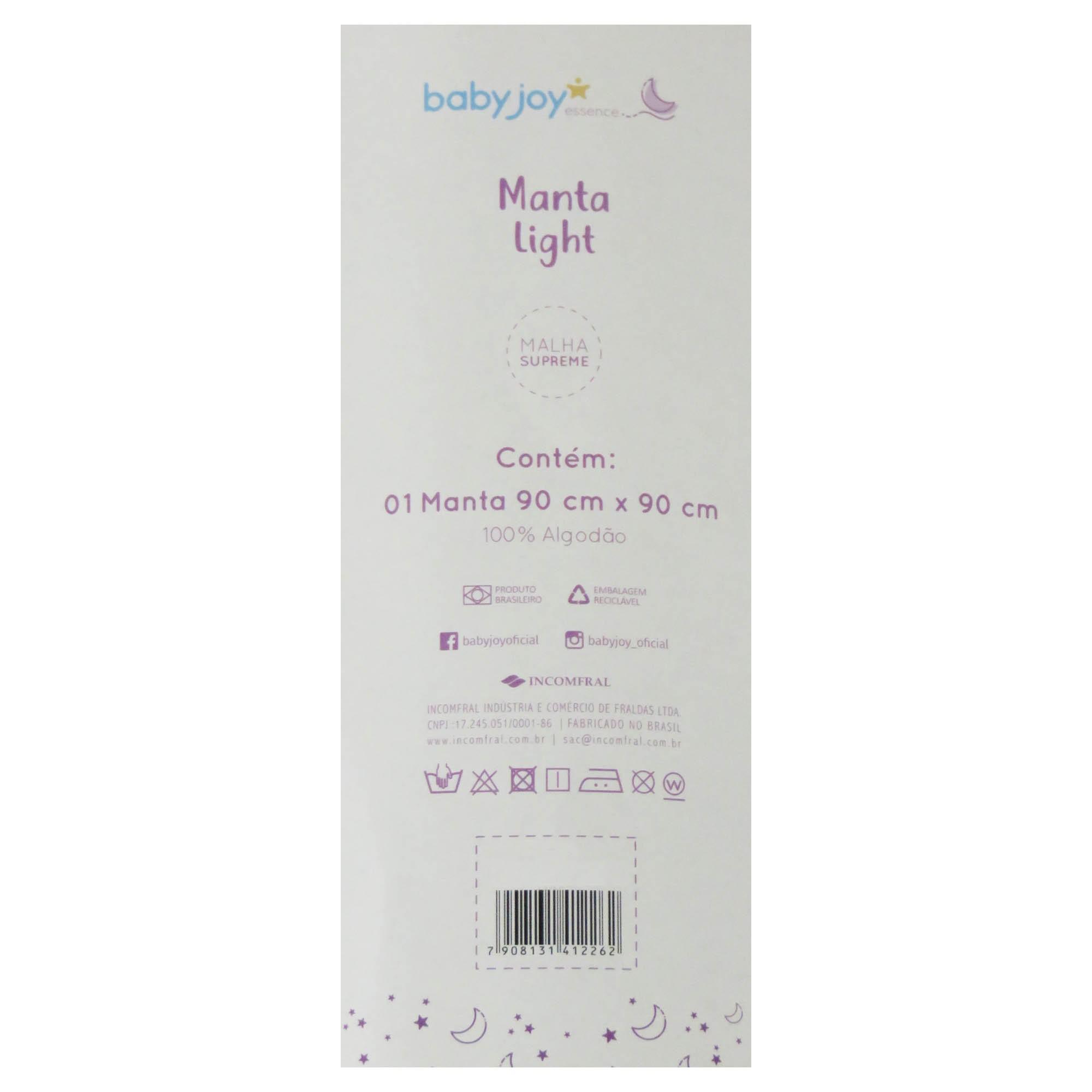Manta Light Malha Lisa com Bordado - Incomfral - Baby Joy - Branco