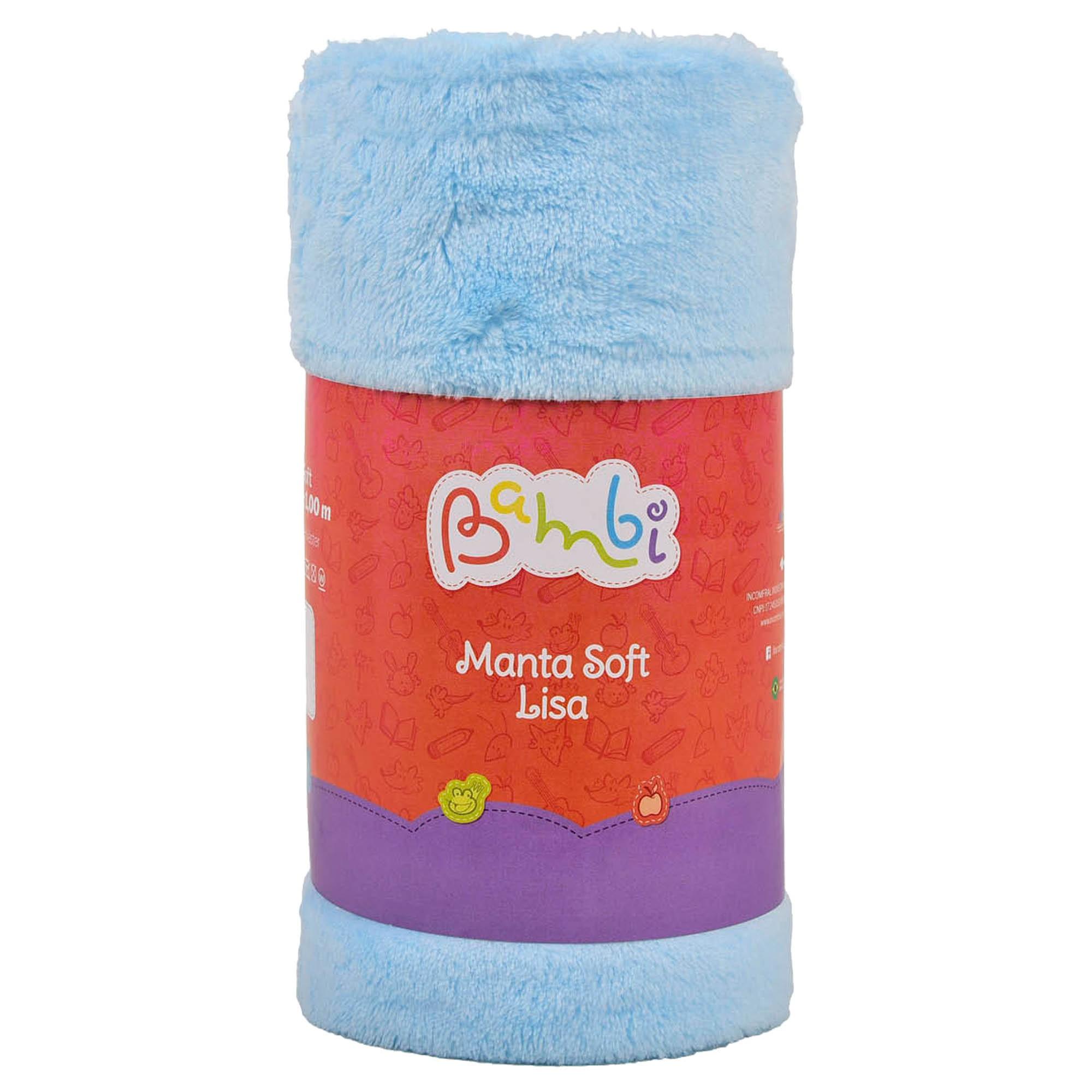 Manta Soft Lisa Rolinho - Incomfral - Bambi - Azul