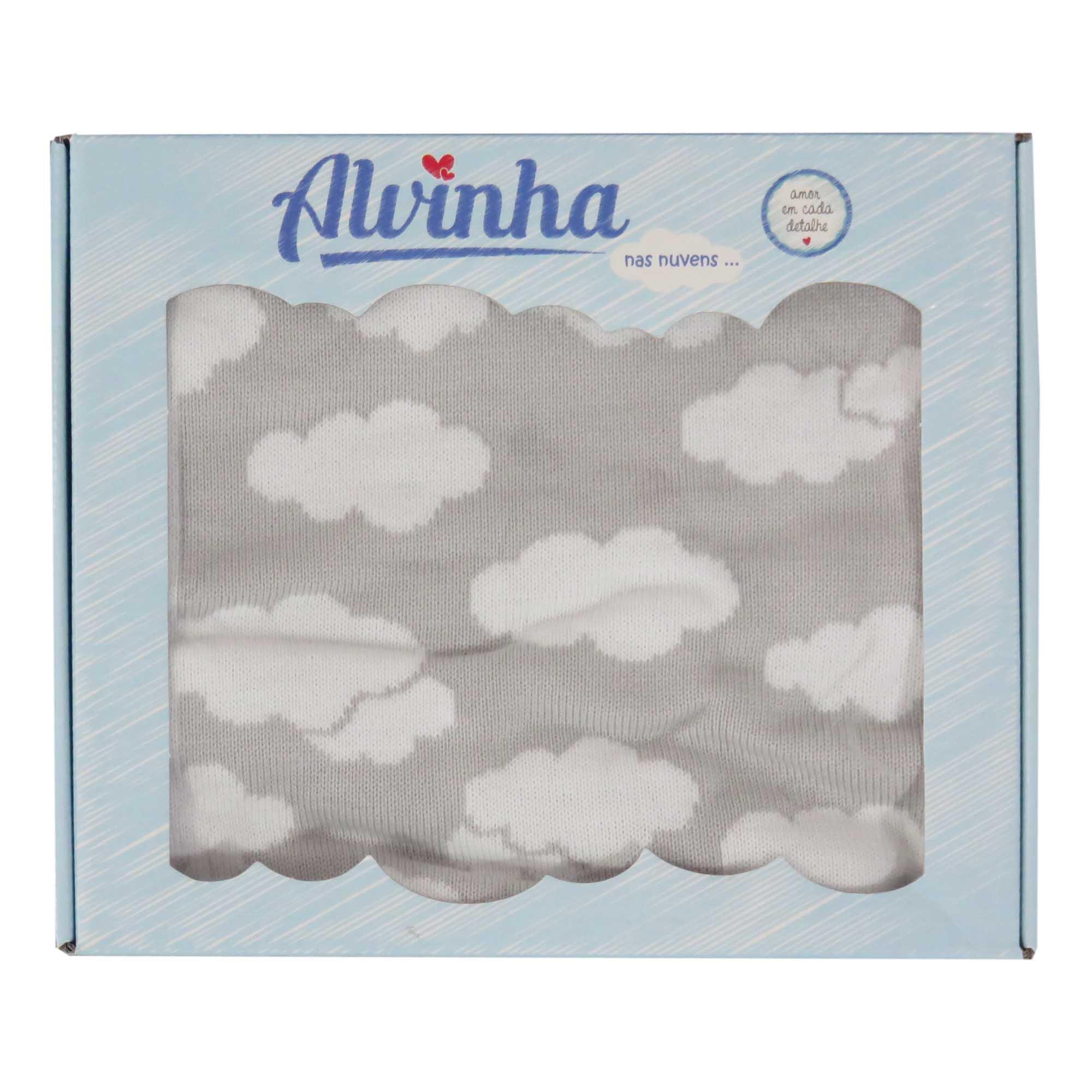Manta Tricot Estampada Nuvens - Minasrey - Alvinha