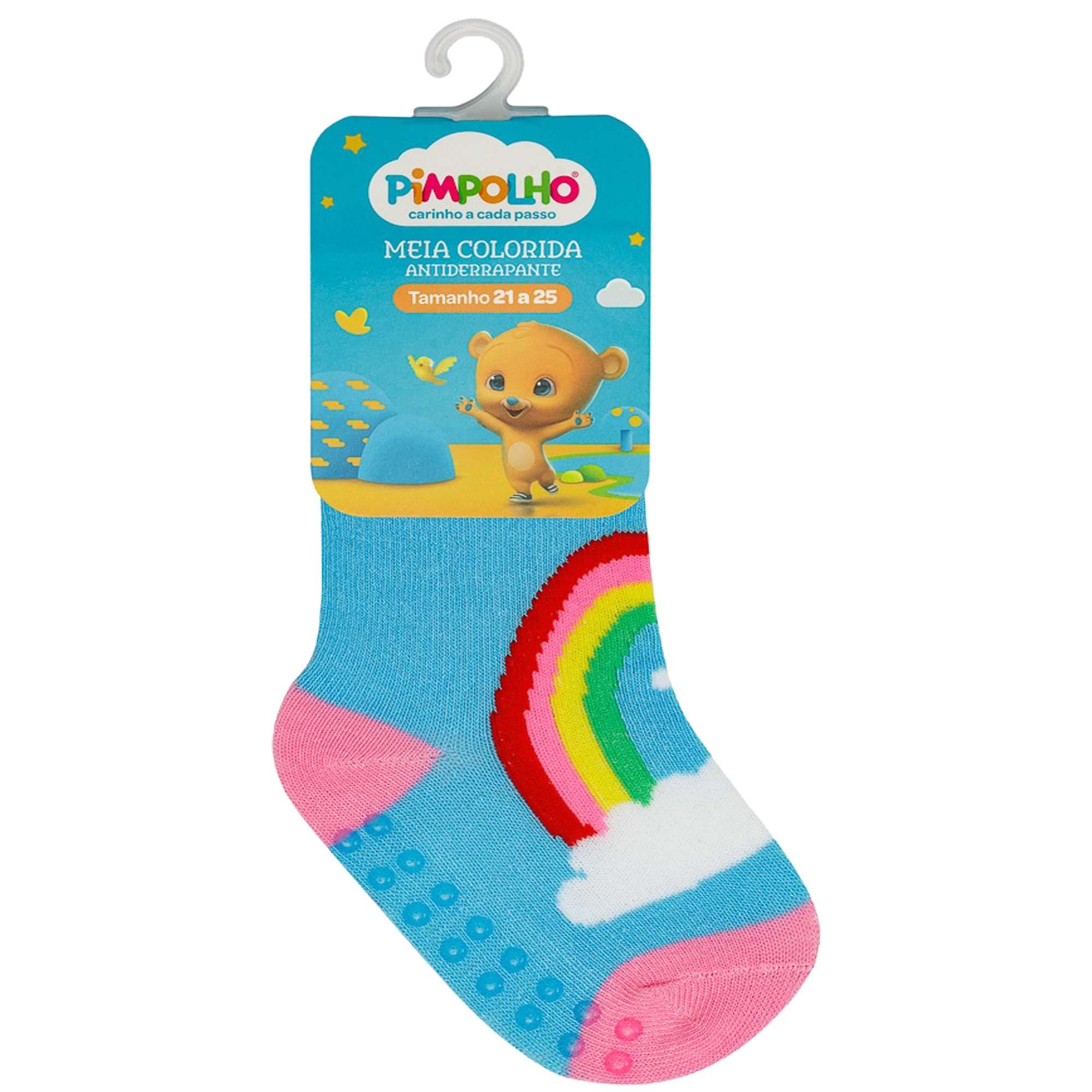 Meia Infantil Pimpolho Colorida Estampada - 21 ao 25