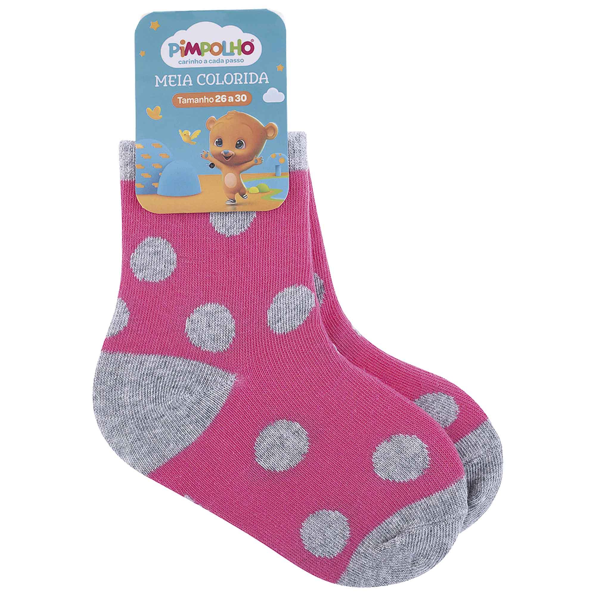 Meia Infantil Pimpolho Colorida Estampada - 26 ao 30