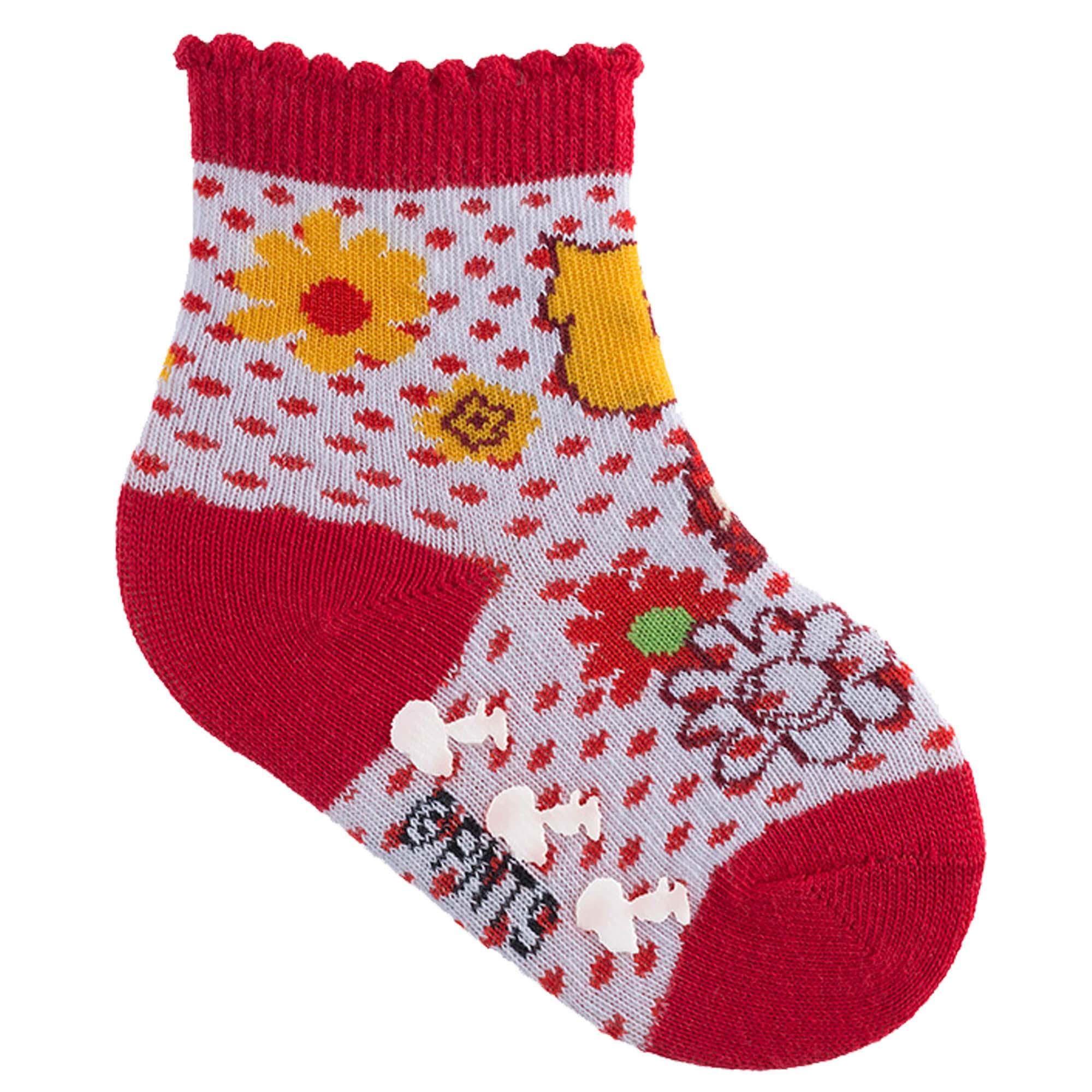 Meia Pimpolho Snoopy com Flores - Vermelha - 21 a 25