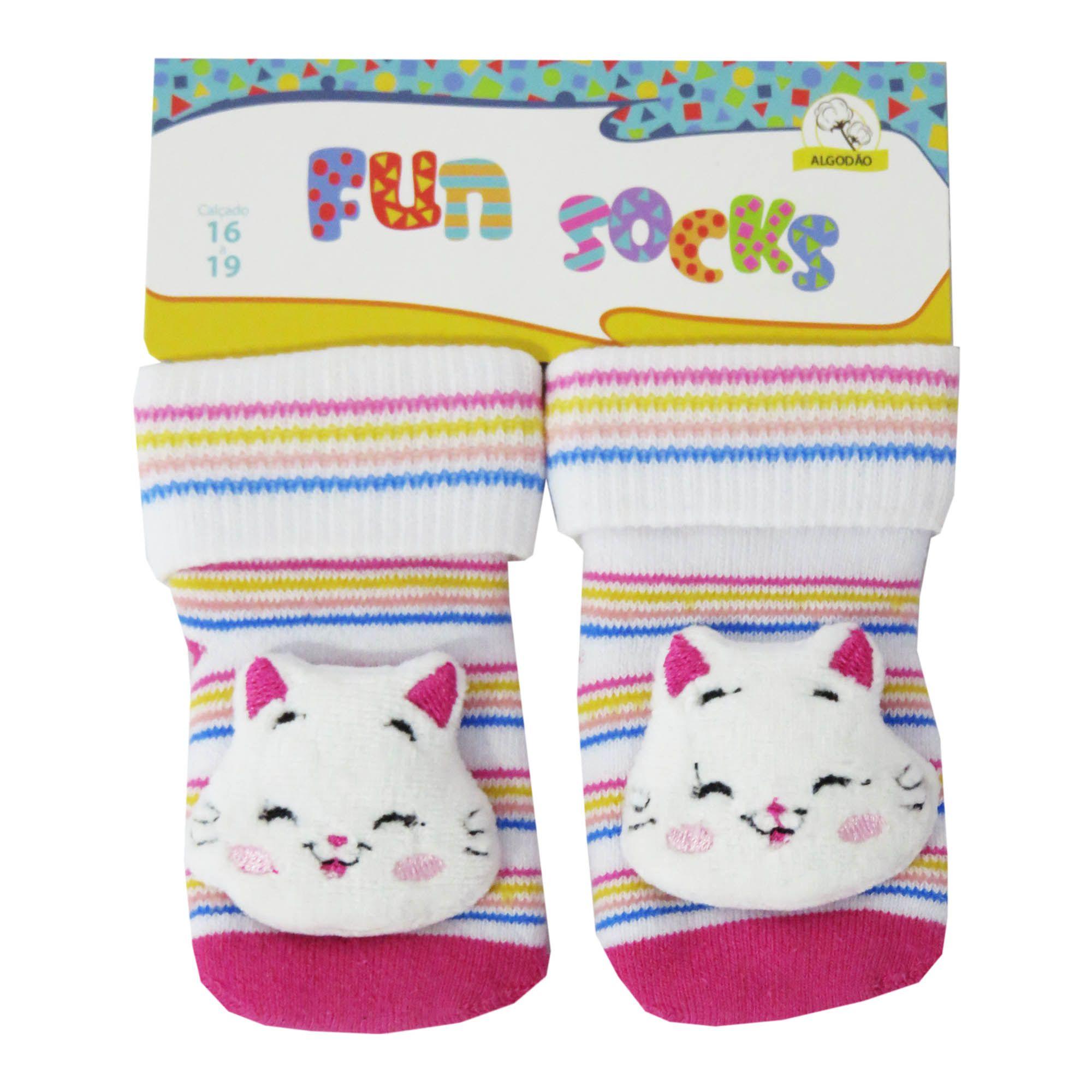 Meia Winston Aplicação Bordada Fun Socks - 16/19