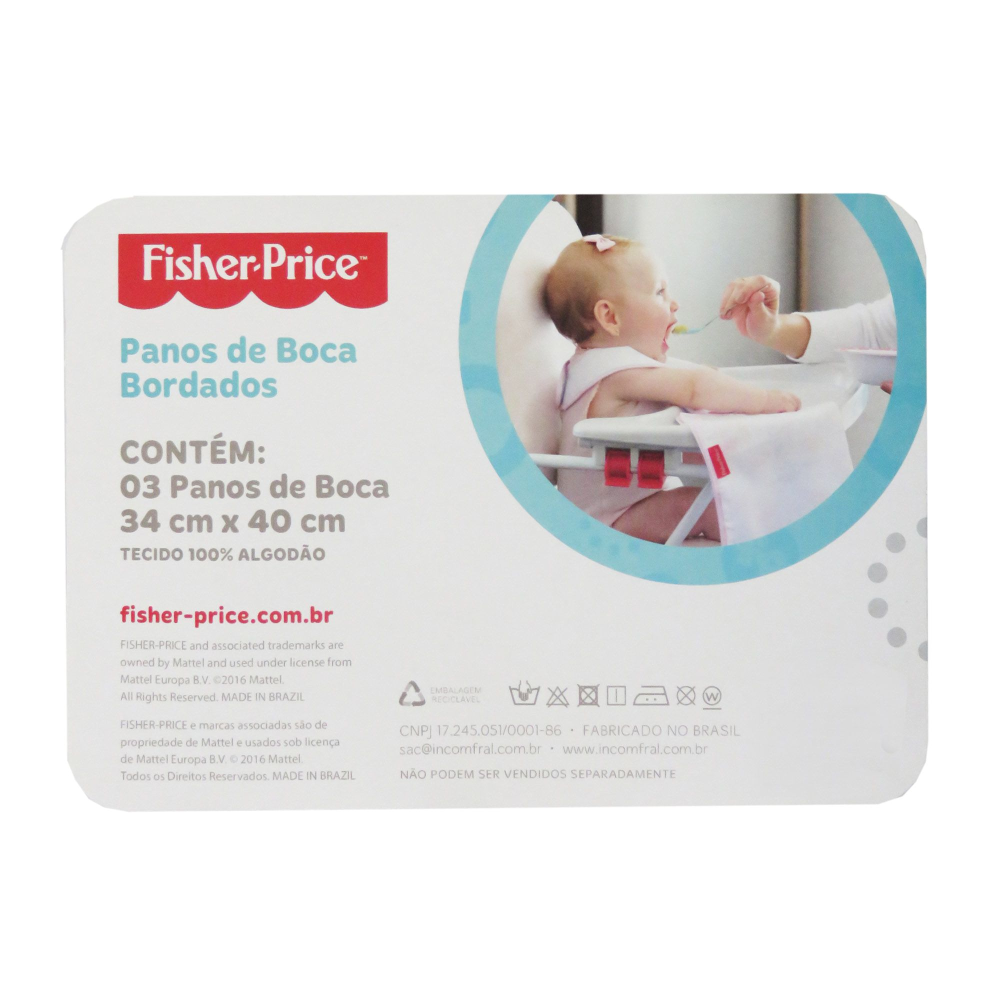 Pano de Boca Incomfral Fisher-Price – Estampado - Azul Claro