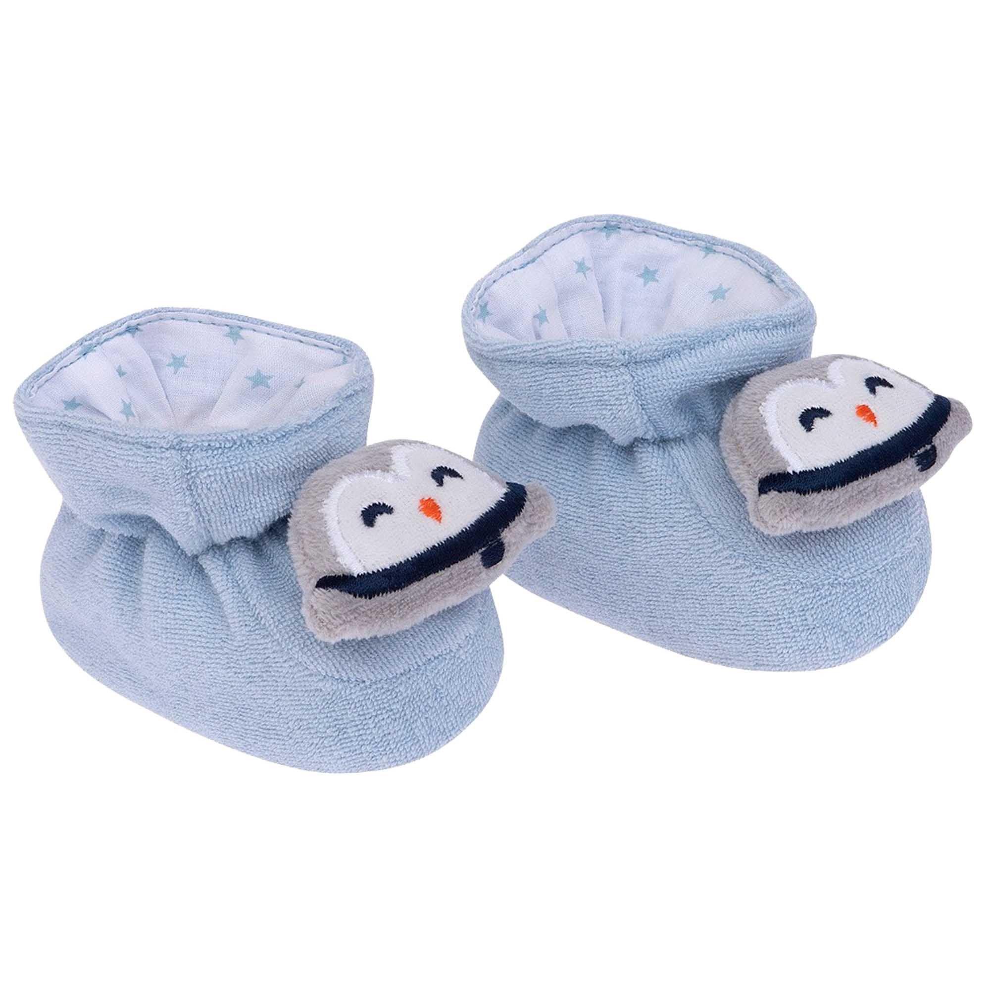 Pantufa Bichinhos Pimpolho - Pinguim Azul Claro - 0 a 7 Meses