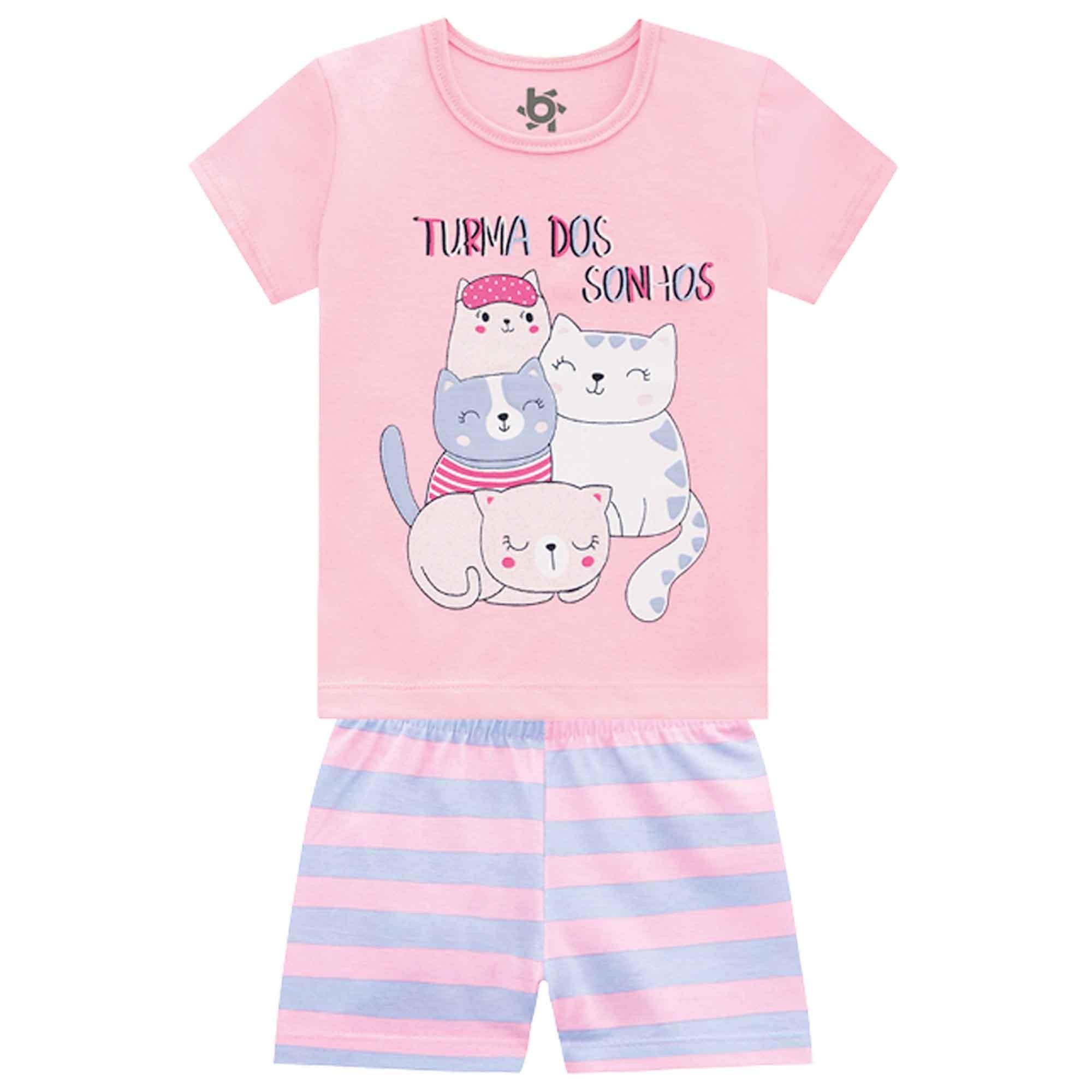 Pijama Verão Brandili Blusinha e Shorts Turma dos Sonhos - Brilha no Escuro - 4 ao 10