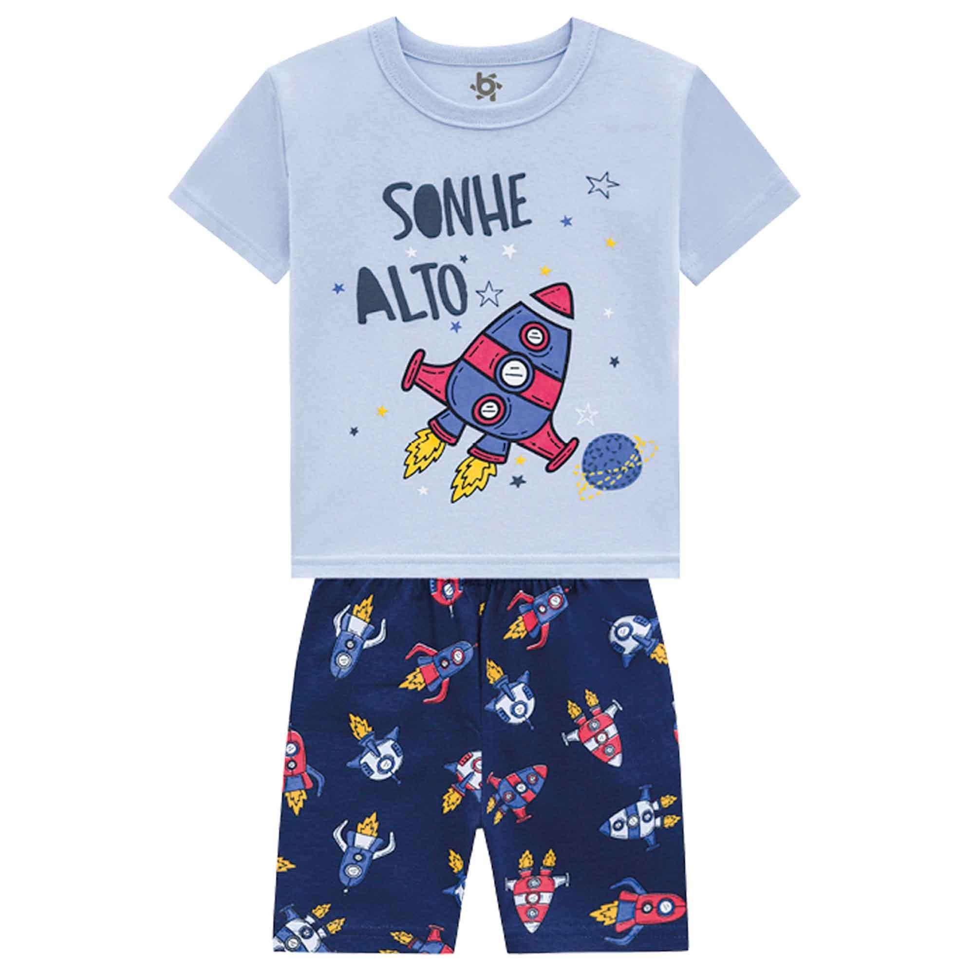 Pijama Verão Brandili Sonhe Alto Foguete - Brilha no Escuro - 1 ao 3