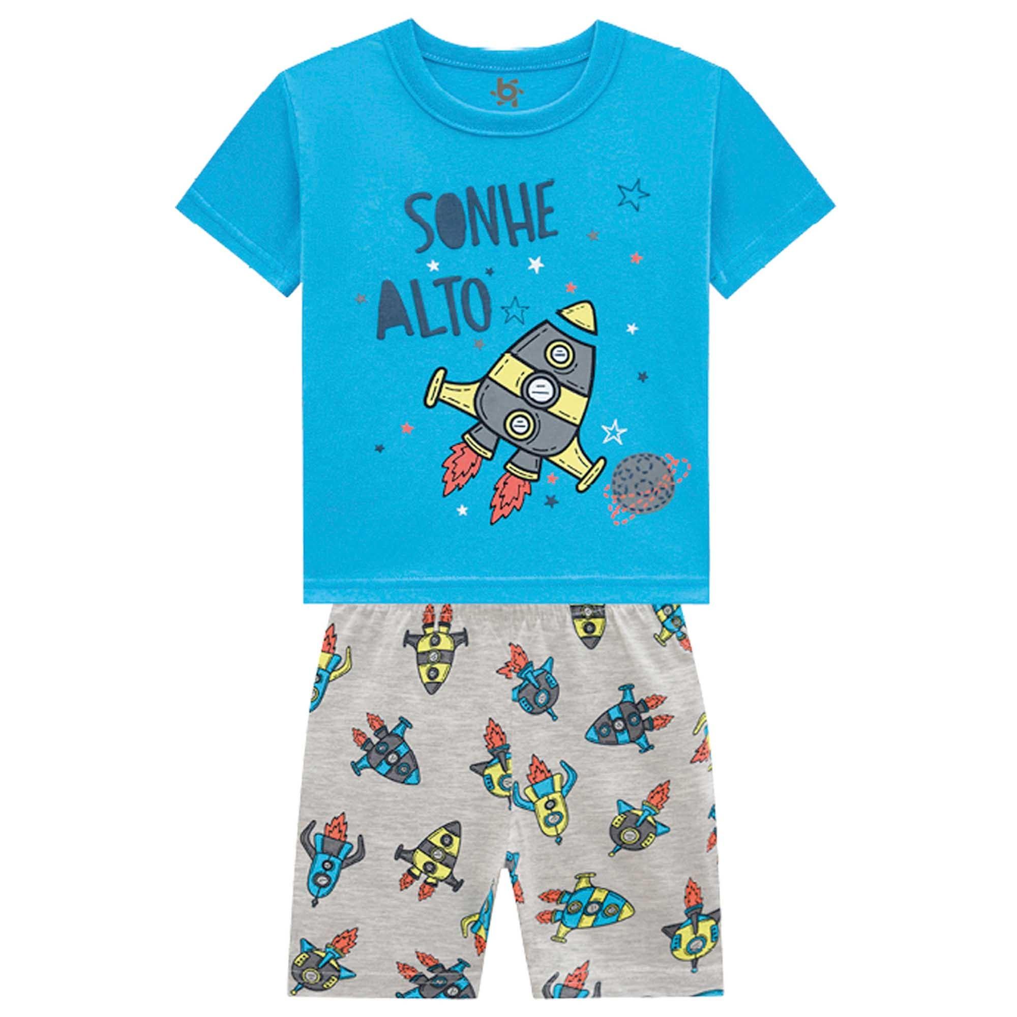 Pijama Verão Brandili Sonhe Alto Foguete - Brilha no Escuro - 4 ao 10