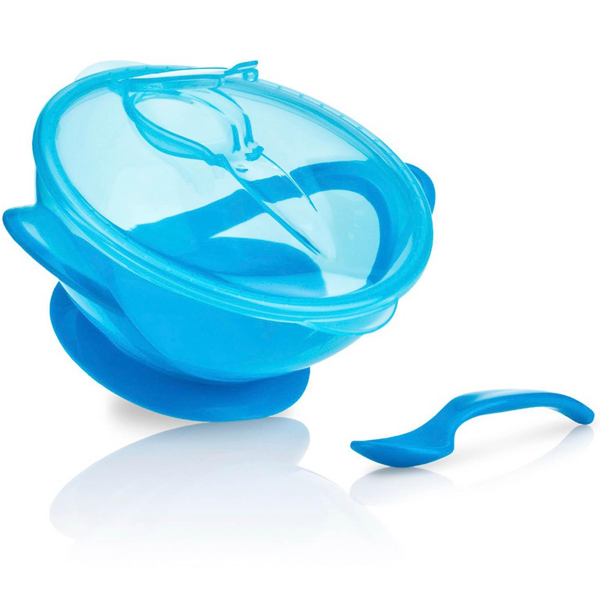 Tigelinha com Ventosa e Colher Cajovil Nûby - Easy Go +6M - Azul