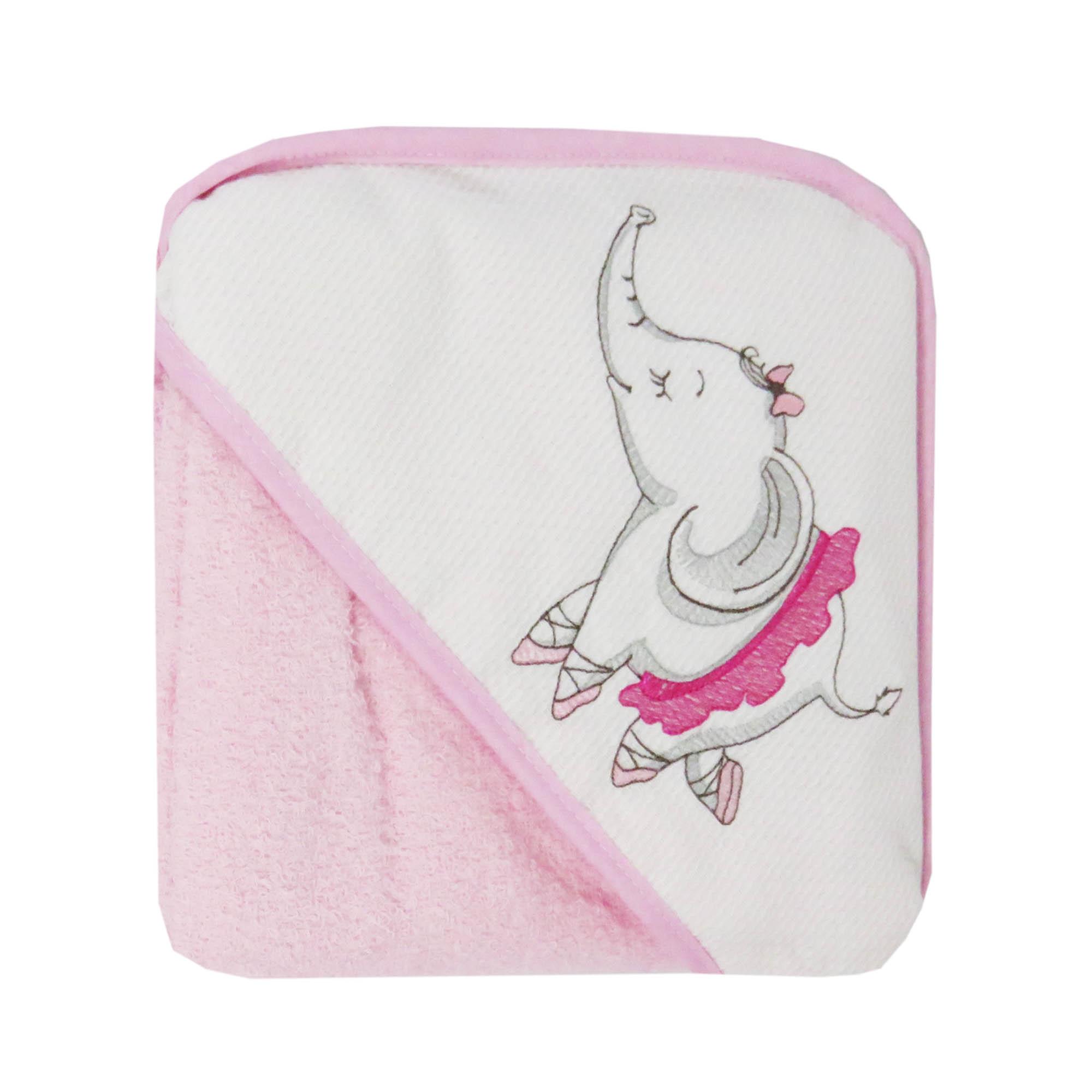 Toalha Bordada com Capuz de Canto - Incomfral - Bambi Encanto - Elefante Bailarina