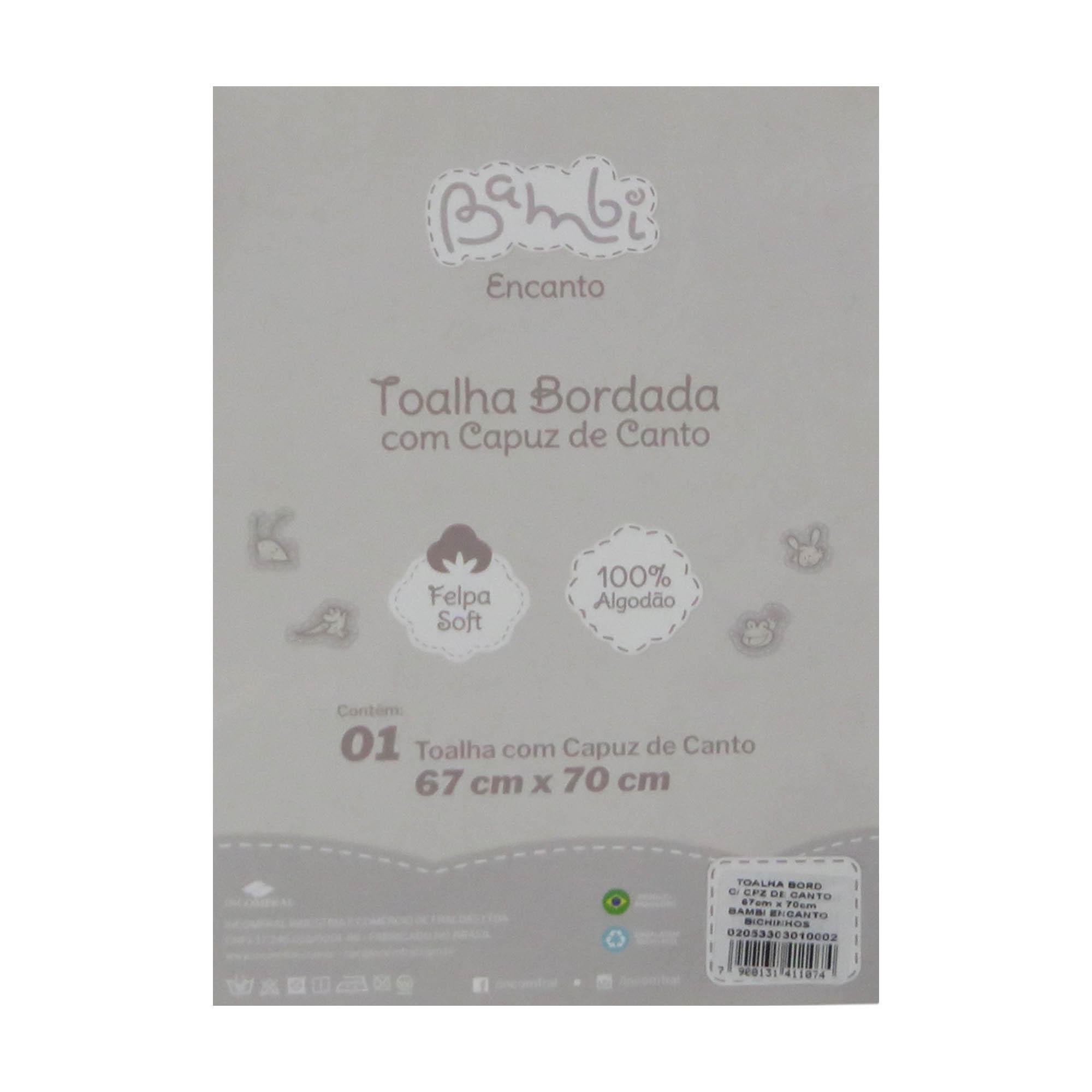 Toalha Bordada com Capuz de Canto - Incomfral - Bambi Encanto - Ovelha