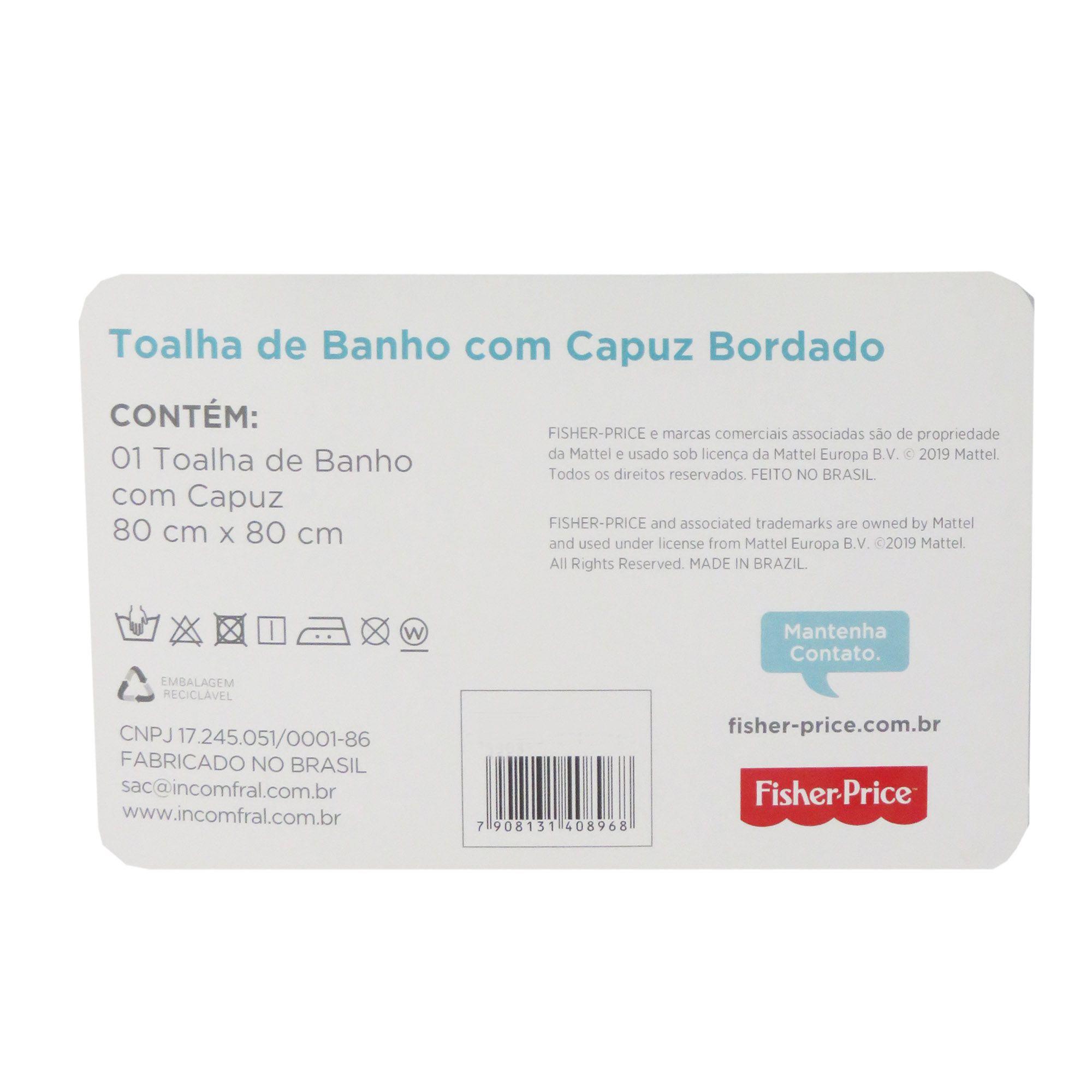 Toalha Bordada Incomfral Fisher-Price - Elefante