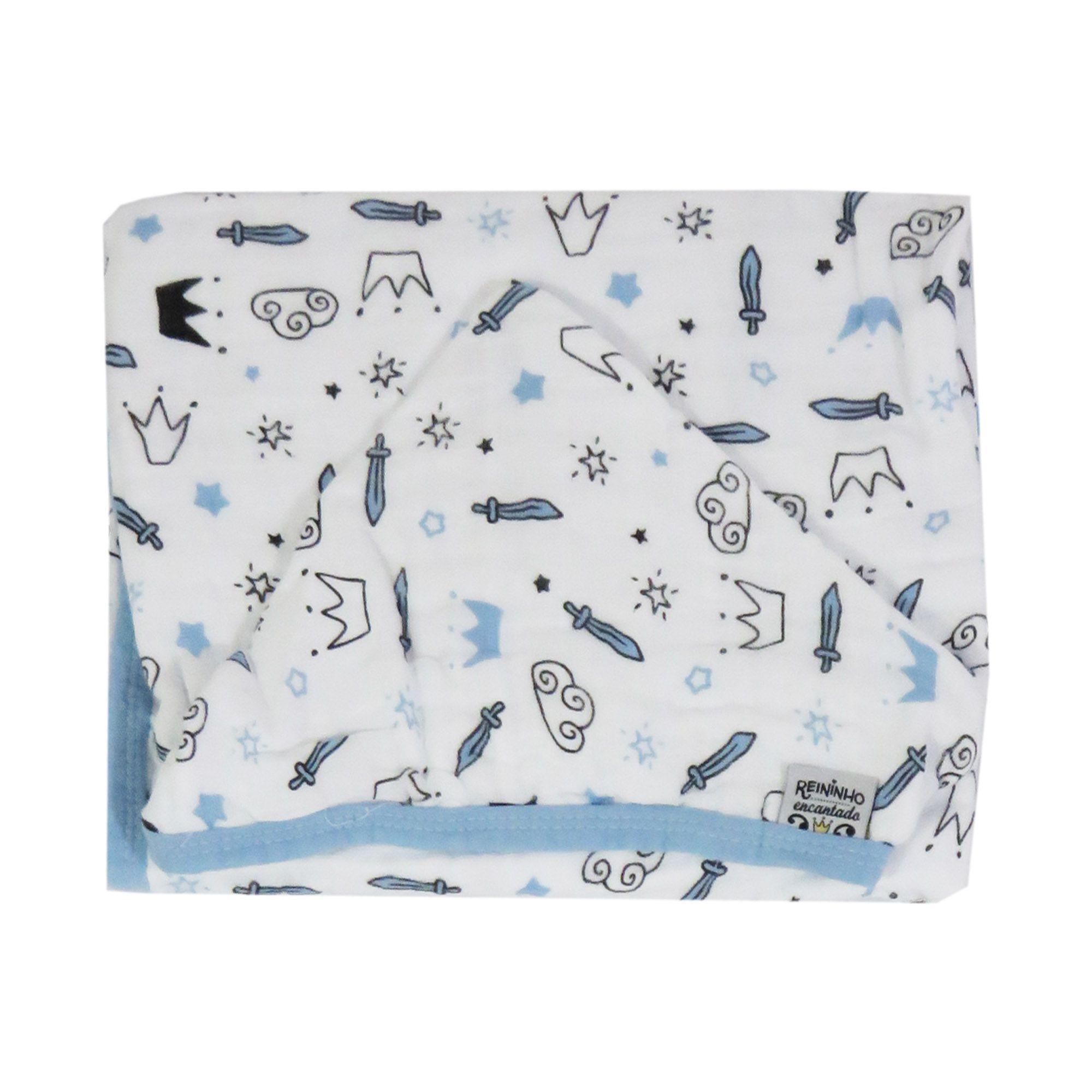 Toalha de banho com capuz Soft - Minasrey - Reininho Encantado - Azul