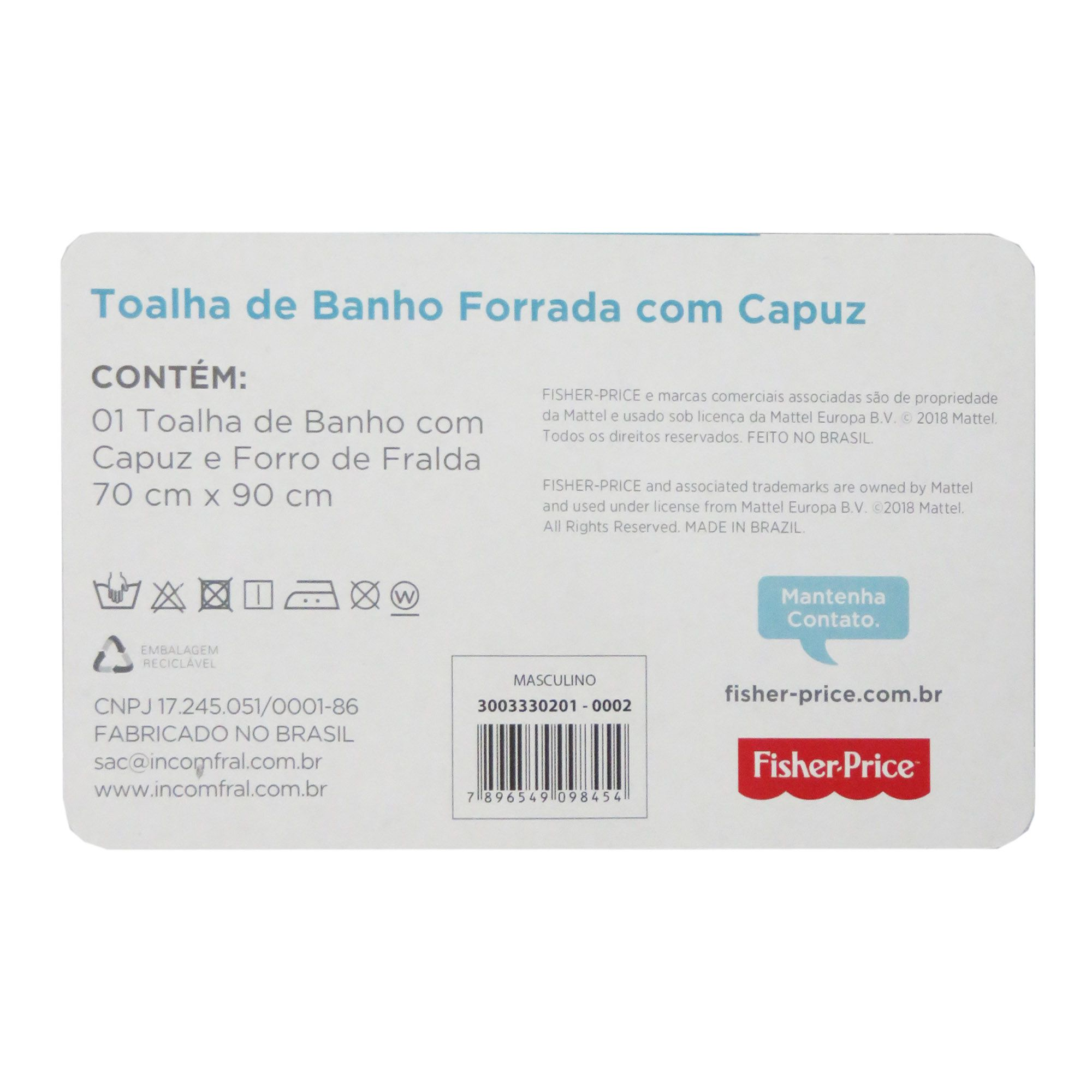 Toalha de Banho Incomfral Fisher-Price - Leão - Amarelo Claro
