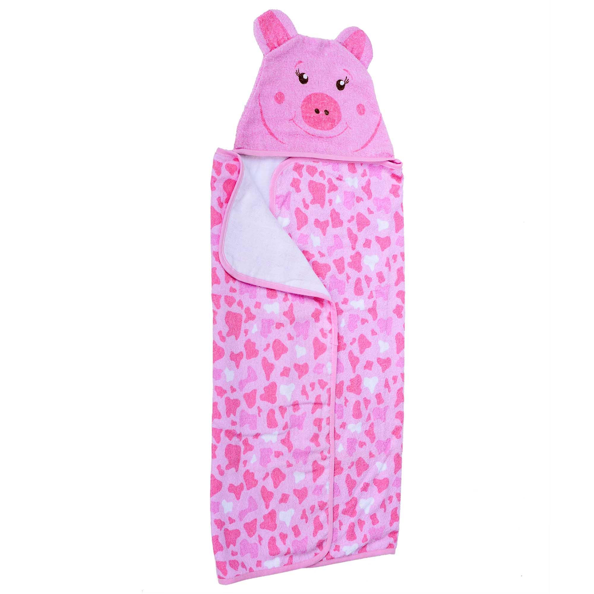 Toalha de Felpa Estampada - Minasrey - Carinhas - Porco - Rosa
