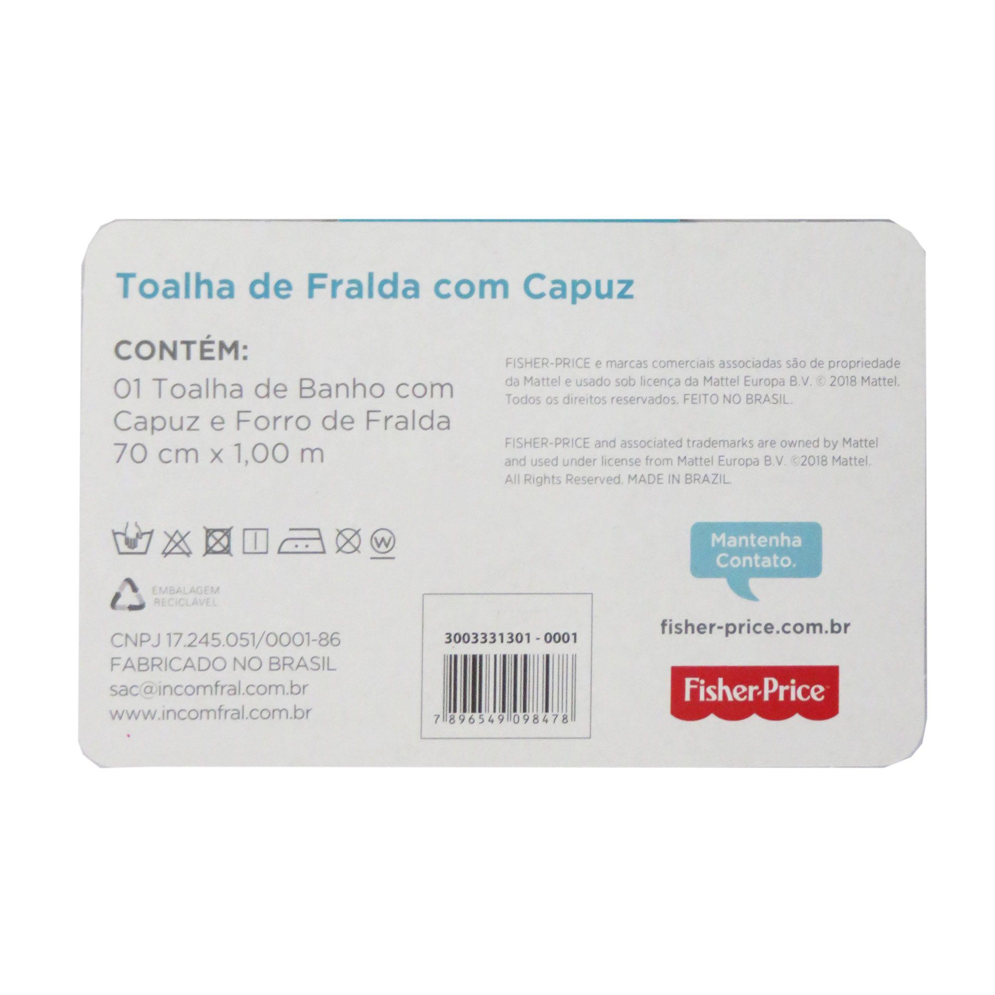 Toalha de Fralda incomfral Fisher Price - Com Capuz - Azul Claro