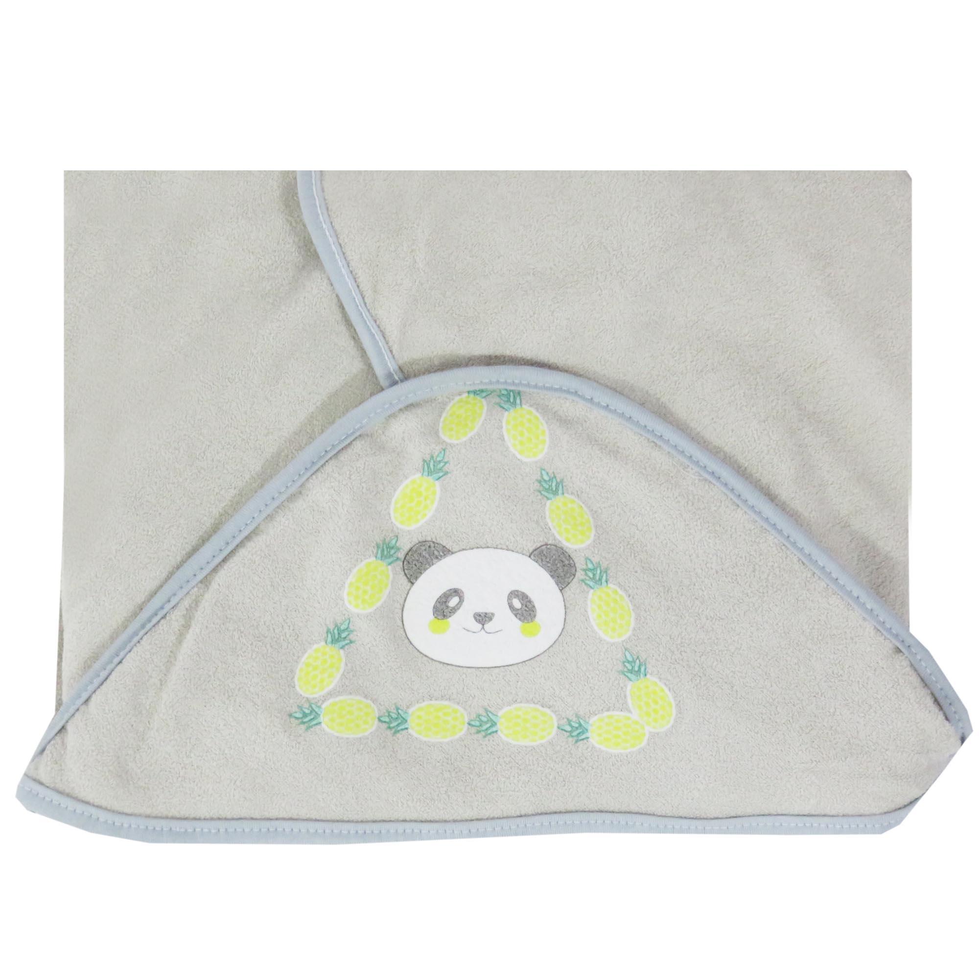 Toalha de Plush com Puff no Capuz Estampa Panda - Incomfral - Bambi Malhas