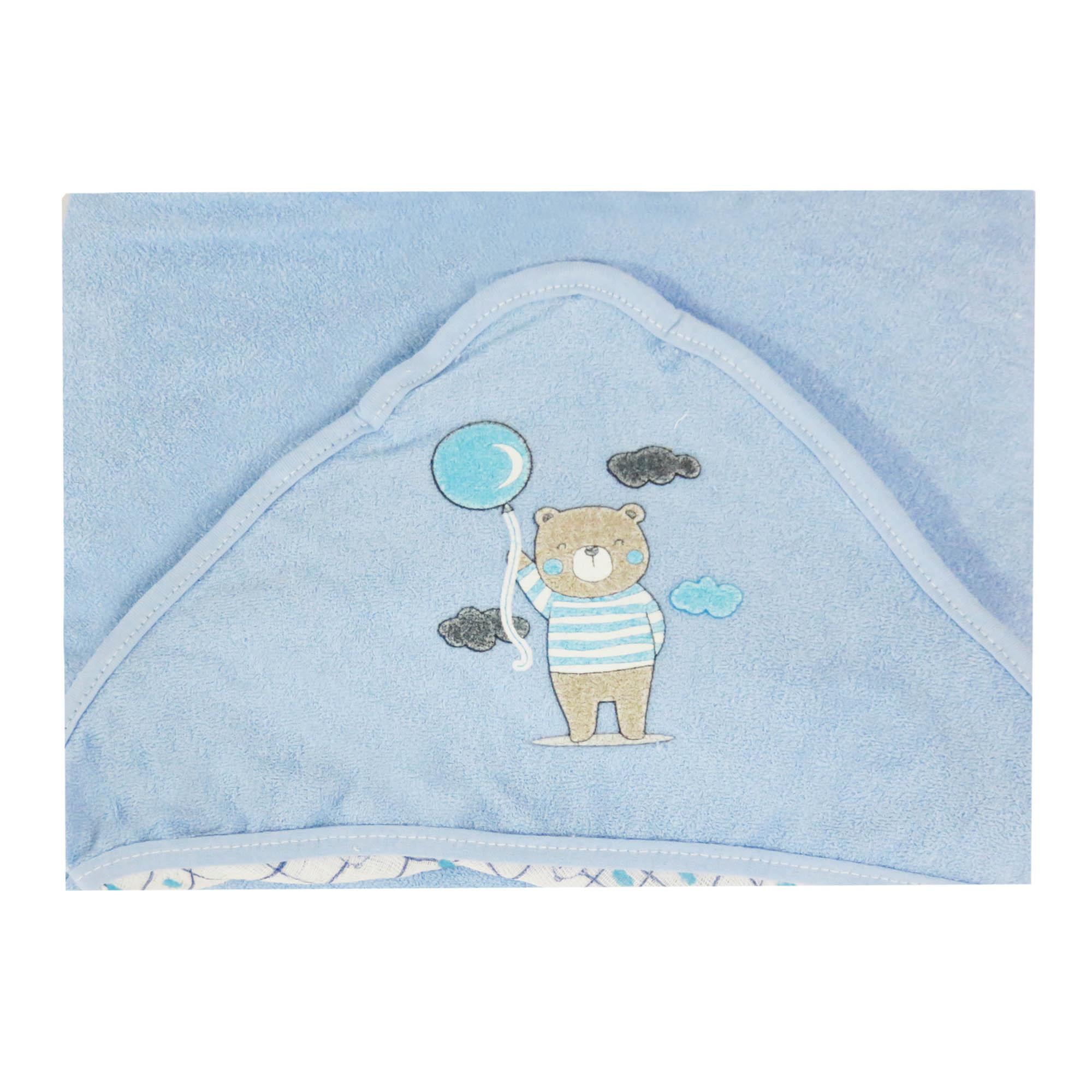 Toalha de Plush com Puff no Capuz Estampa Ursinho Nuvem - Incomfral - Bambi Malhas
