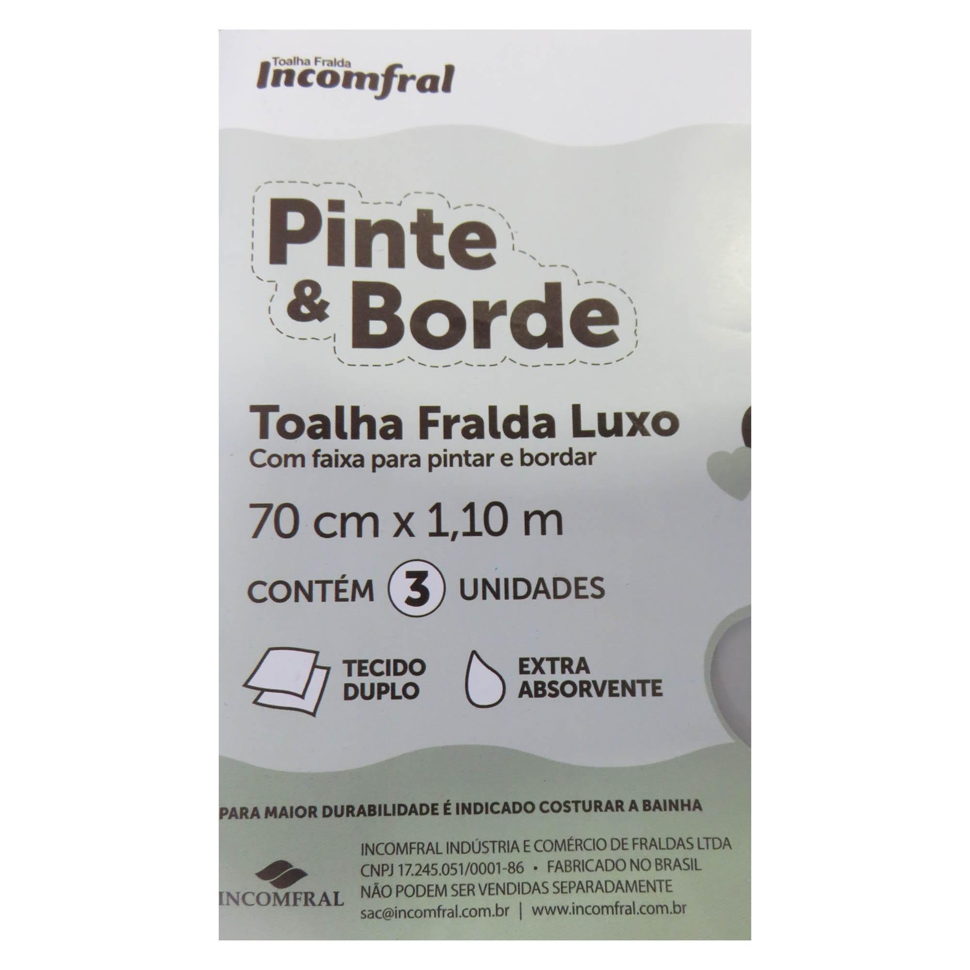Toalha Fralda com 3 unidades - Incomfral - Pinte e Borde - Amarelo
