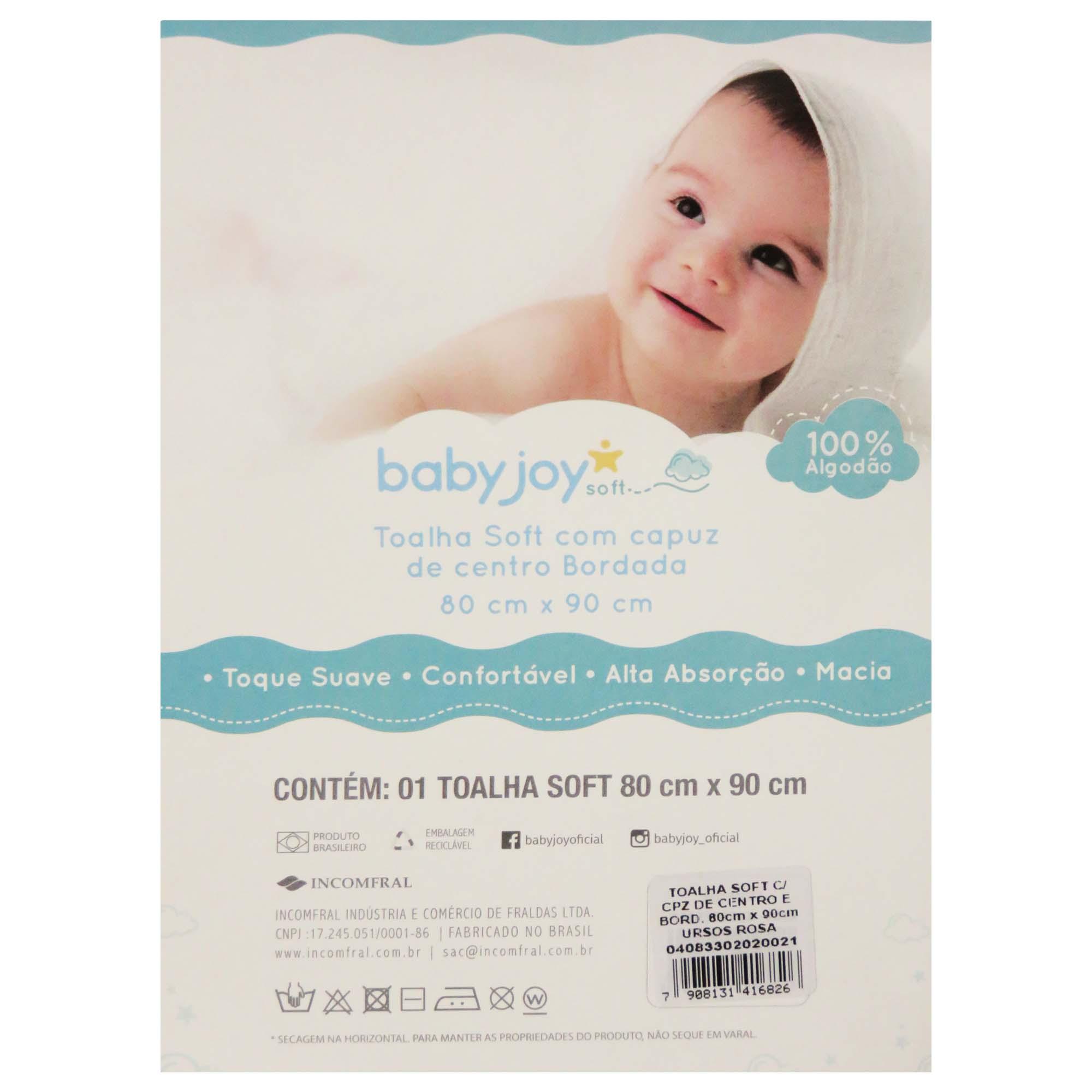 Toalha Soft com Capuz de Centro Bordada - Incomfral - BabyJoy - Alfabeto