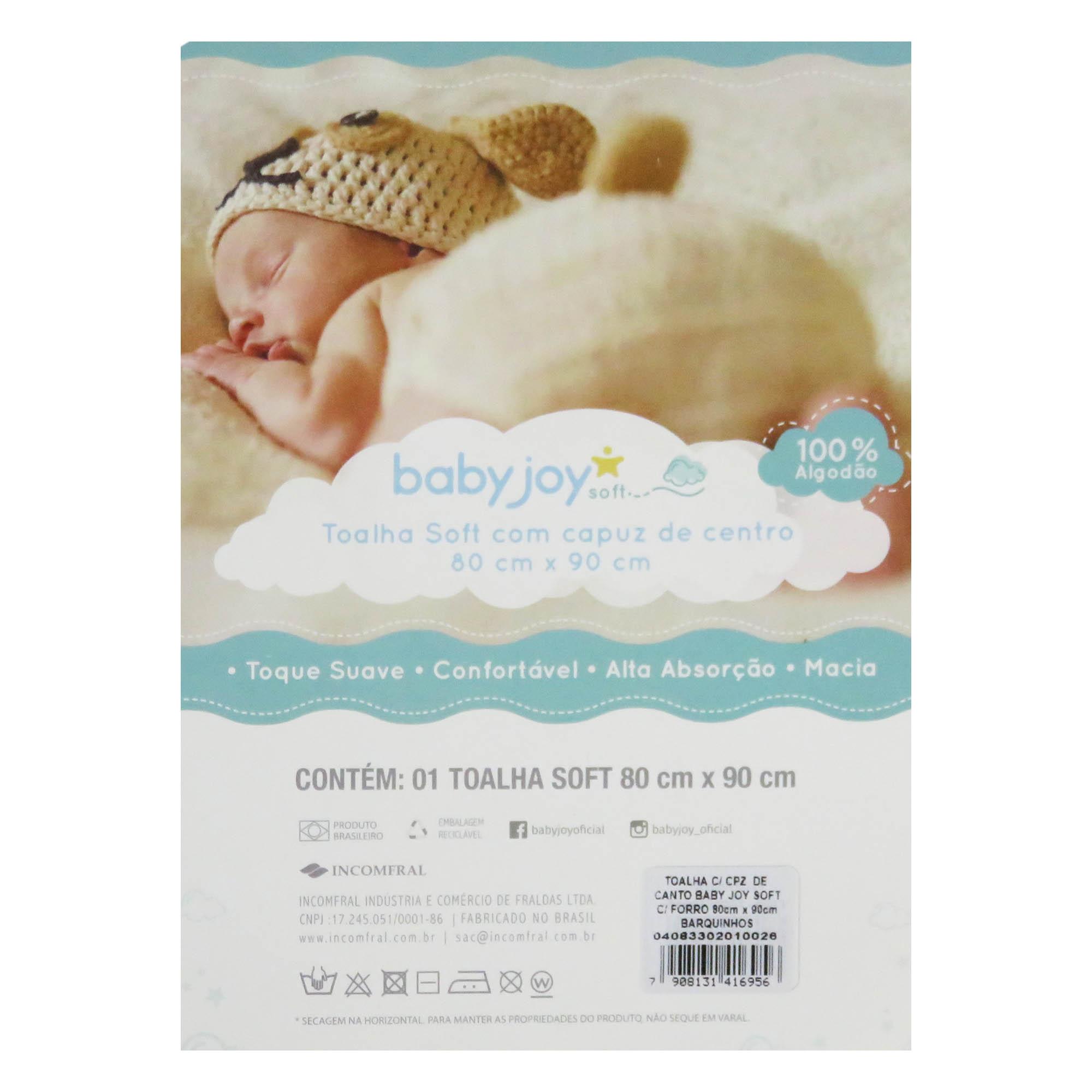 Toalha Soft com Capuz de Centro - Incomfral - BabyJoy - Barquinhos