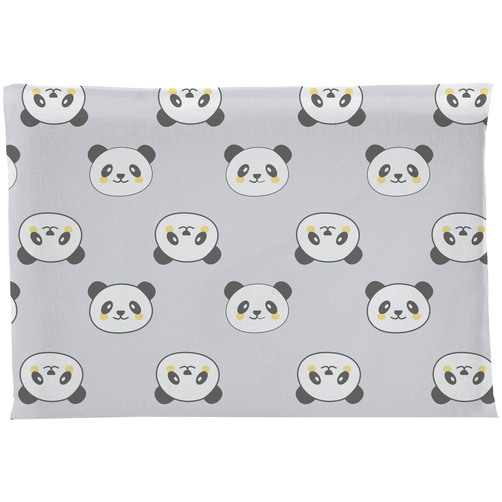 Travesseiro Antissufocante Incomfral Bambi - Estampado Panda - Cinza Claro
