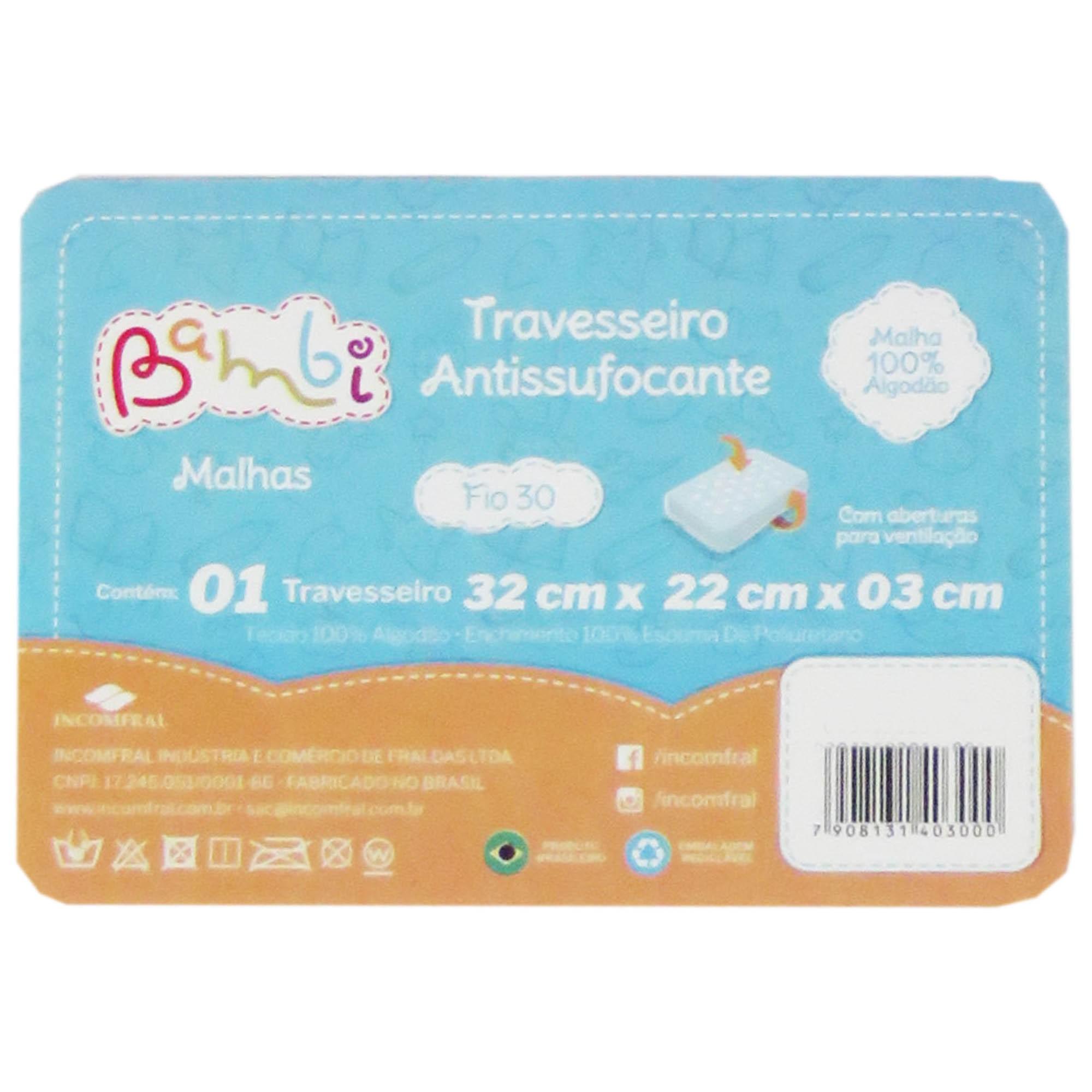 Travesseiro Antissufocante Incomfral Bambi - Estampado Ursinho - Azul Claro