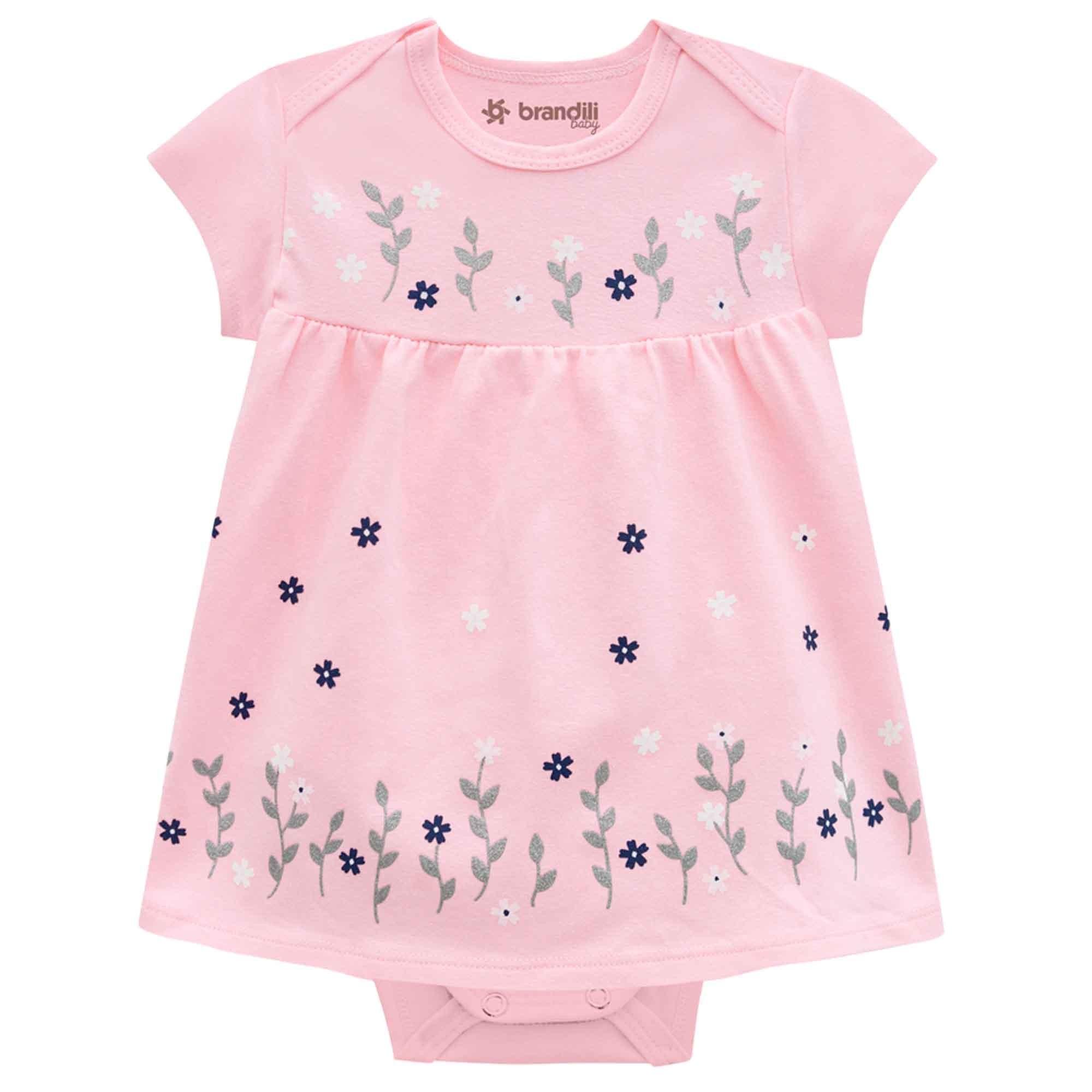 Body Vestido Meia Manga Brandili Baby Flores - RN ao G