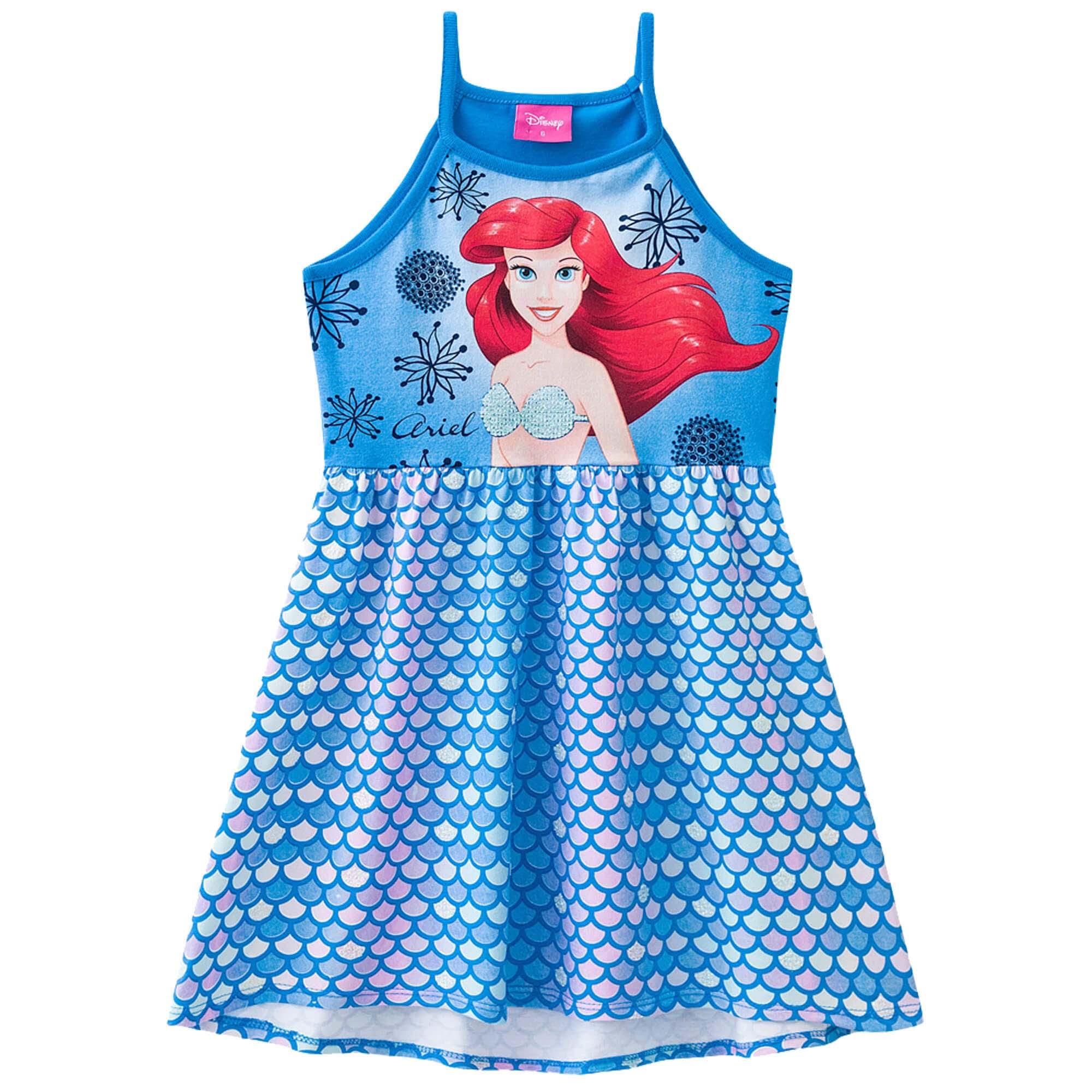 Vestido Verão Brandili Personagens Ariel - 4 ao 10