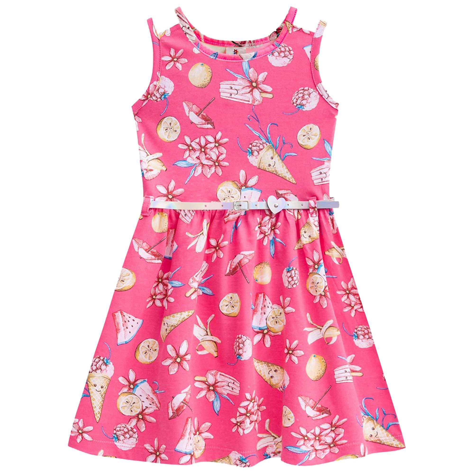 Vestido Verão Brandili Estampado com Cinto - 4 ao 10