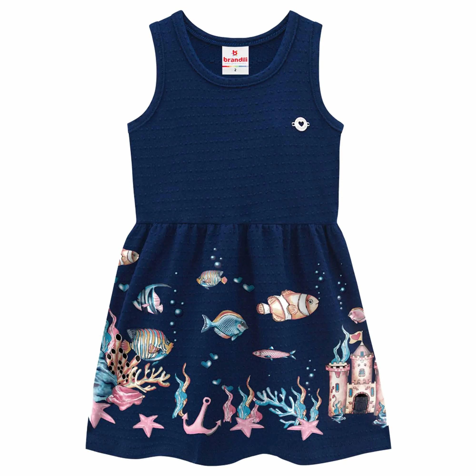 Vestido Verão Brandili Fundo do Mar - 1 ao 3