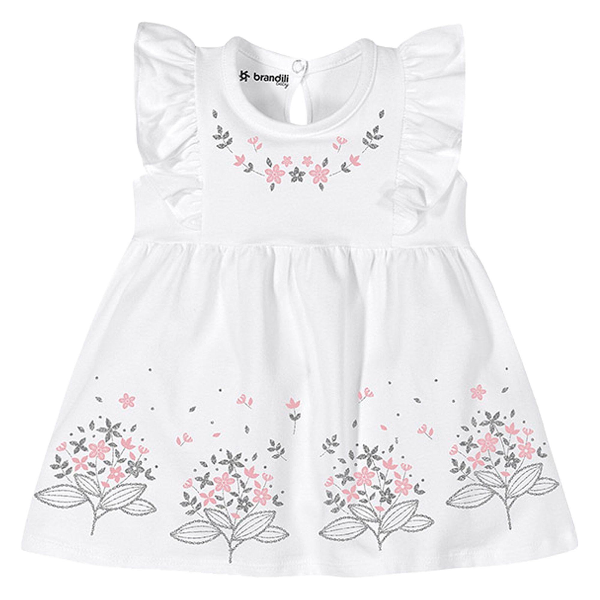 Vestido Verão Brandili Baby Estampa Ramalhete Flores - P ao G