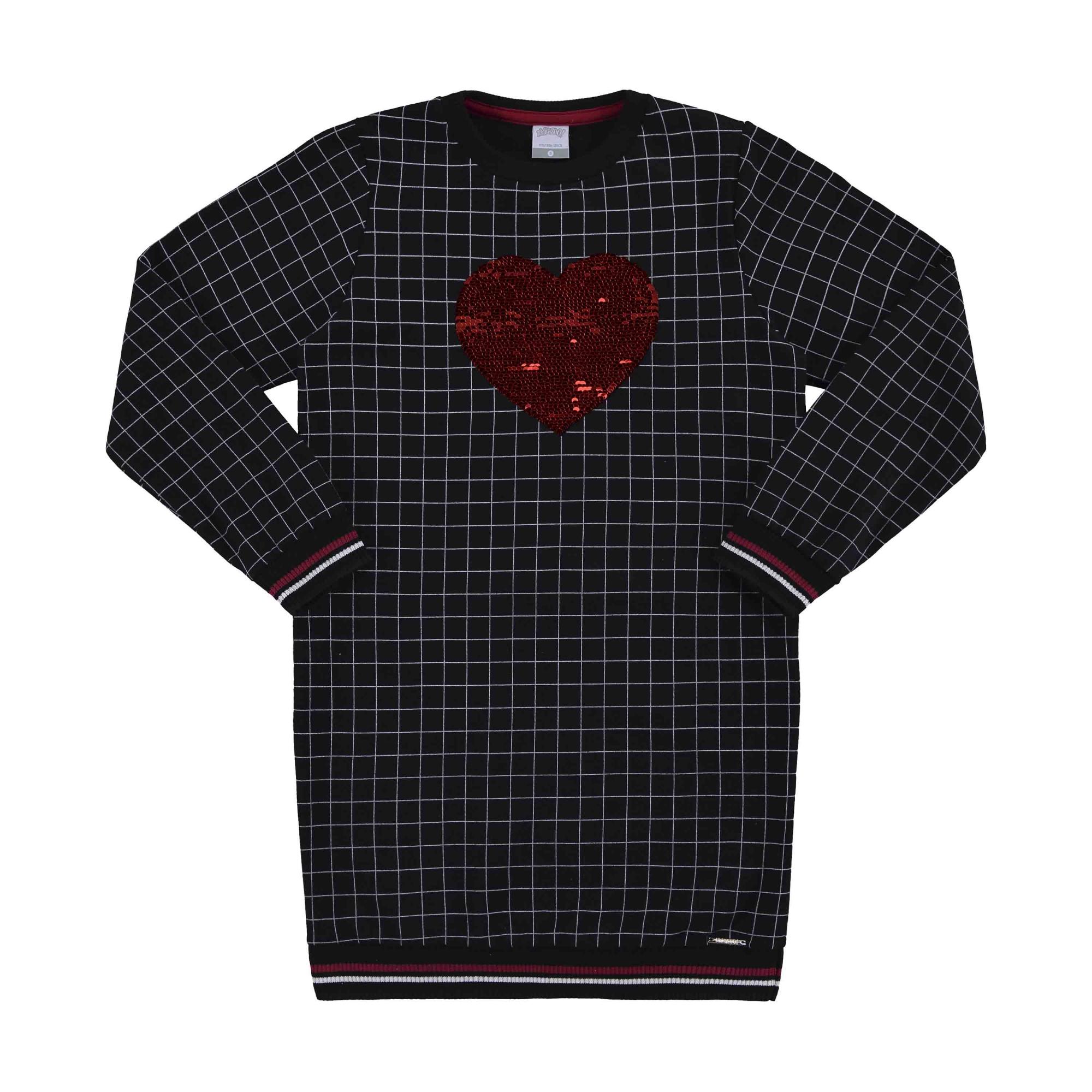 Vestido Inverno Lunelli Alakazoo Coração com Aplicação Lantejoulas - 12 e 16