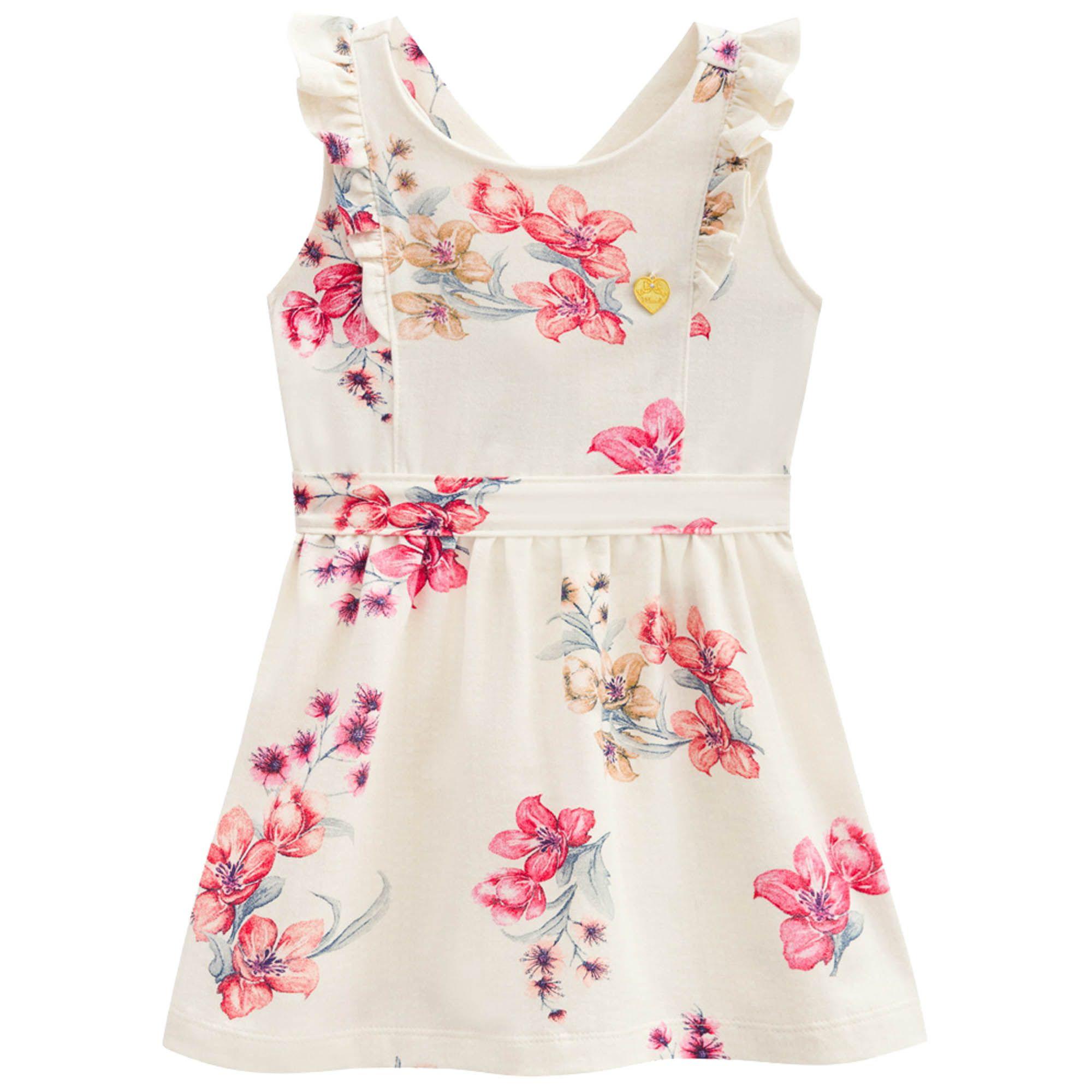 Vestido Verão Brandili Mundi Floral com Babado  - 4 ao 14