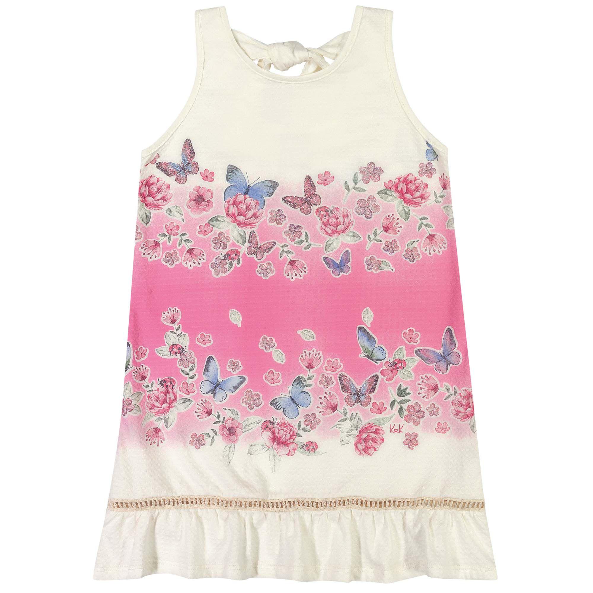 Vestido Verão Romitex Kely Kety Flores e Borboletas - 4 ao 10