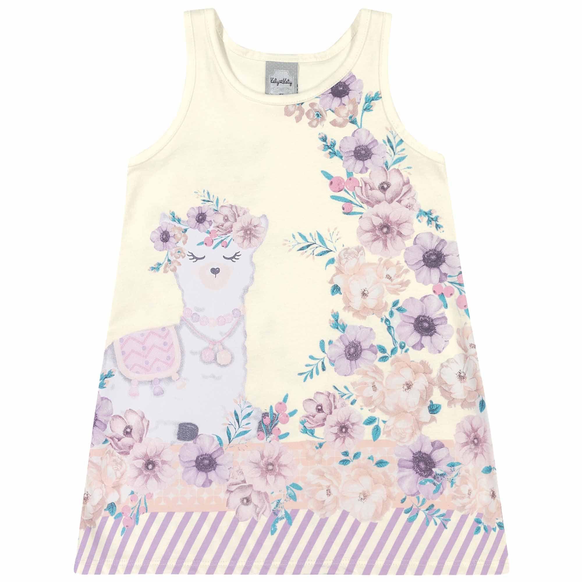 Vestido Verão Romitex Kely Kety Lhama Flores - 1 ao 3