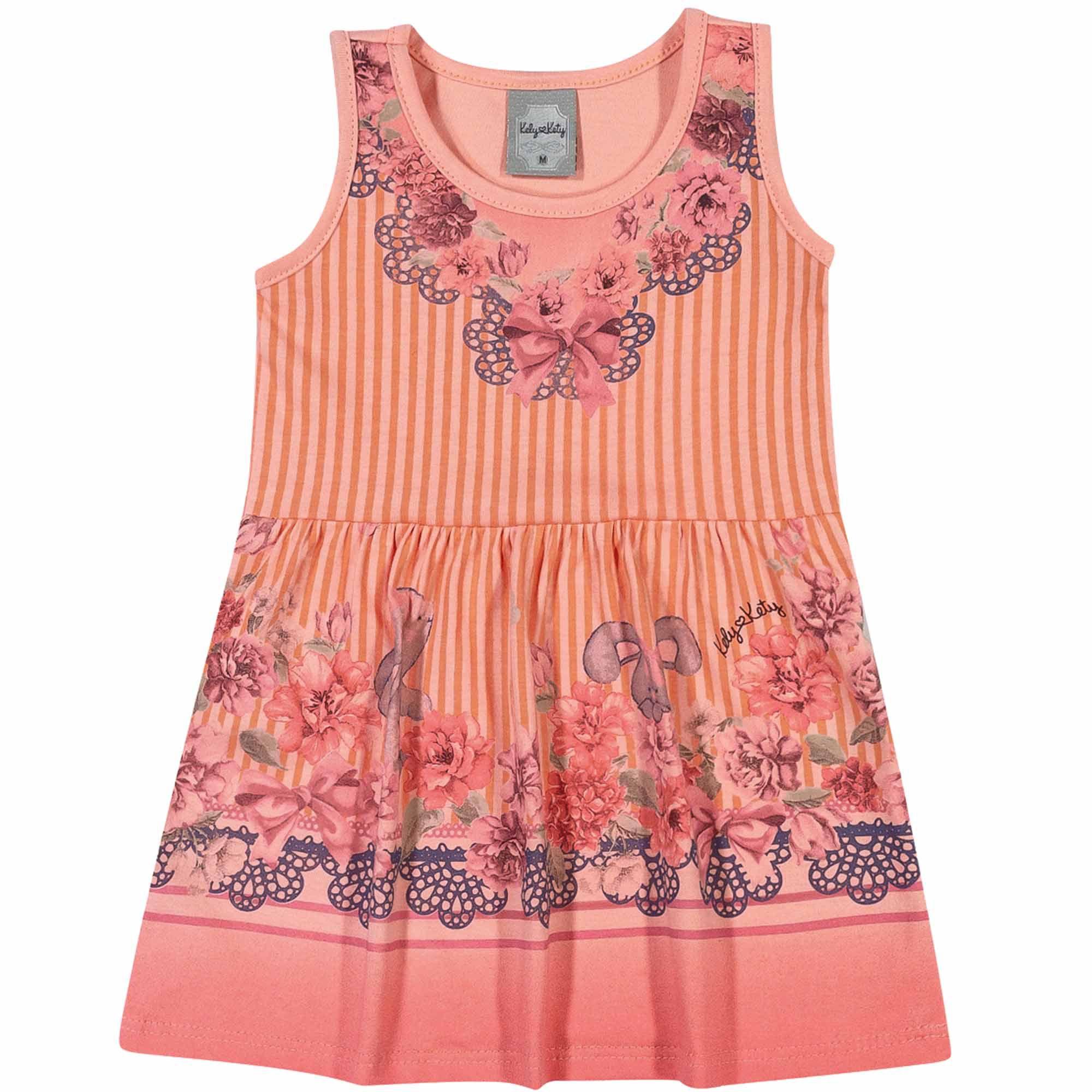 Vestido Verão Romitex Kely Kety Listras e Flores - P ao G