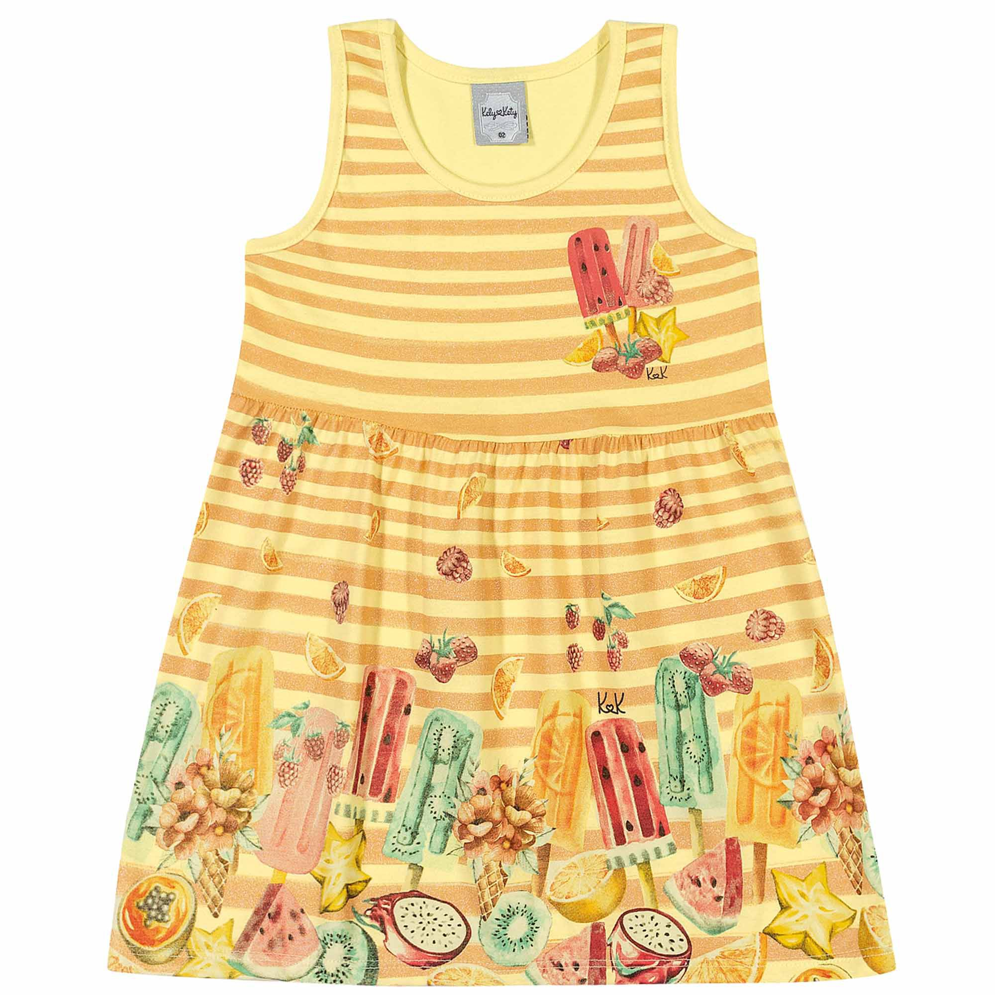 Vestido Verão Romitex Kely Kety Picolé de Frutas - 1 ao 3