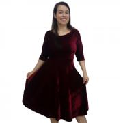 Vestido de Veludo Midi Sob Medida