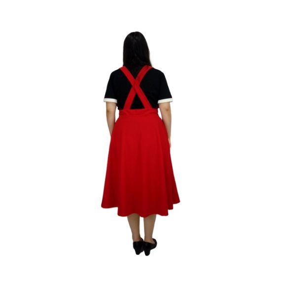 Saia Midi com Suspensório Vermelha