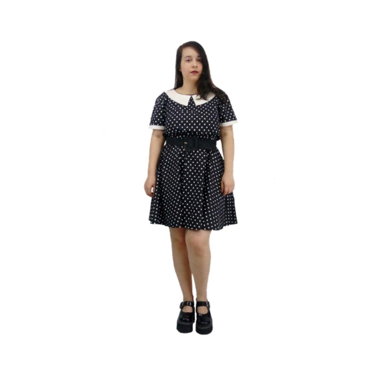 Vestido de Bolinha Preto e Branco
