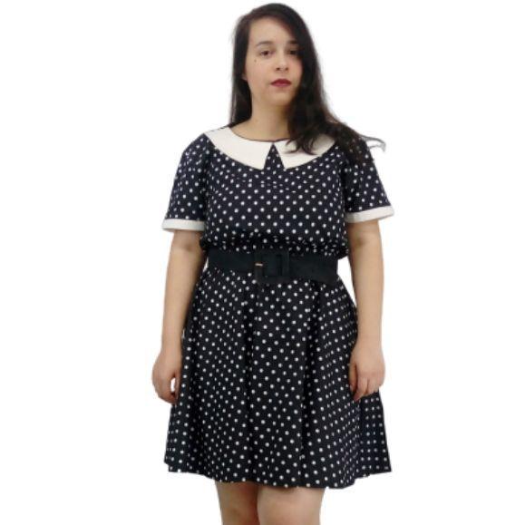 Vestido de Poá Preto e Branco Sob Medida