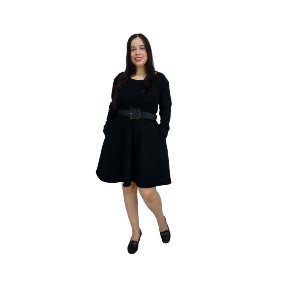 Vestido Preto Manga Longa