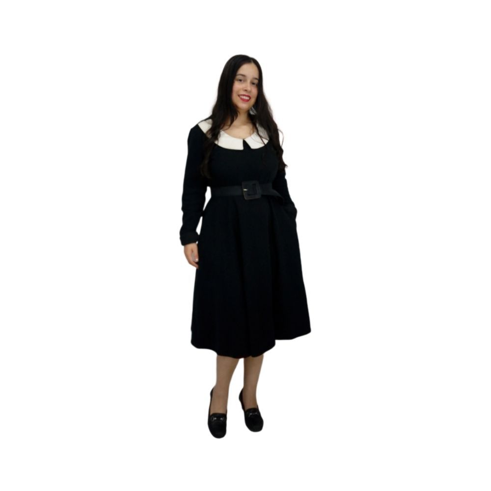Vestido Midi Manga Longa Preto
