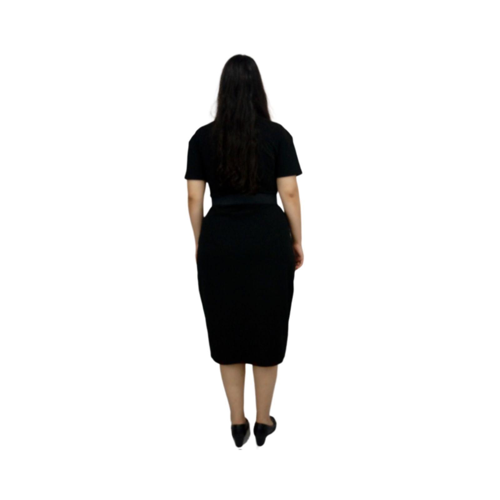 Vestido Preto e Branco Midi