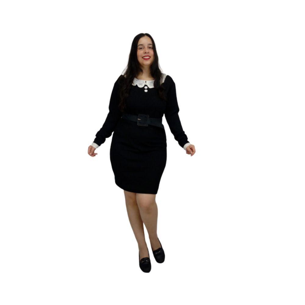 Vestido Sabrina Spellman Manga Longa Preto