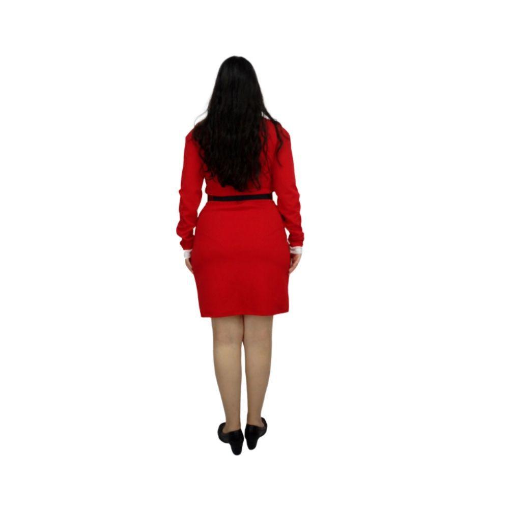 Vestido Sabrina Spellman Manga Longa Vermelho